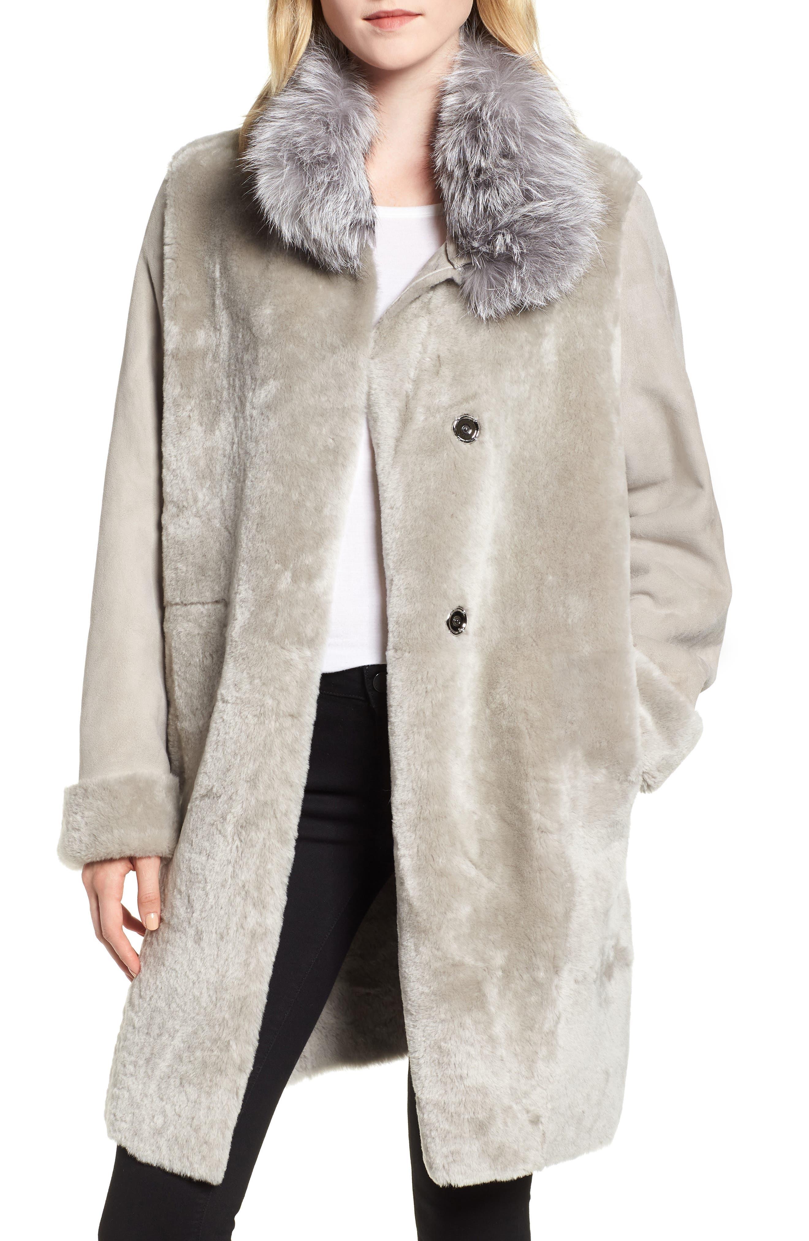 Hiso Lia Genuine Shearling Coat With Genuine Fox Fur, Grey