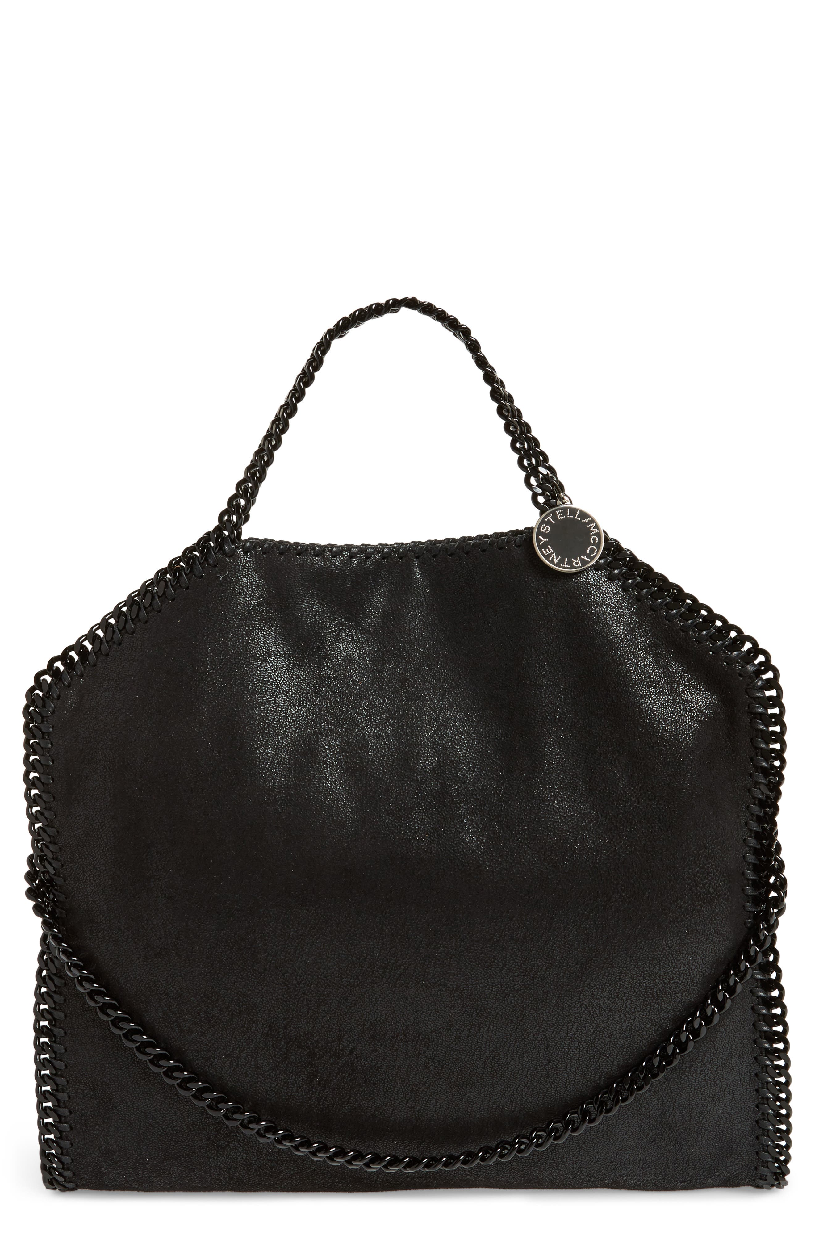 Falabella Shaggy Deer Faux Leather Tote,                         Main,                         color, BLACK OUT
