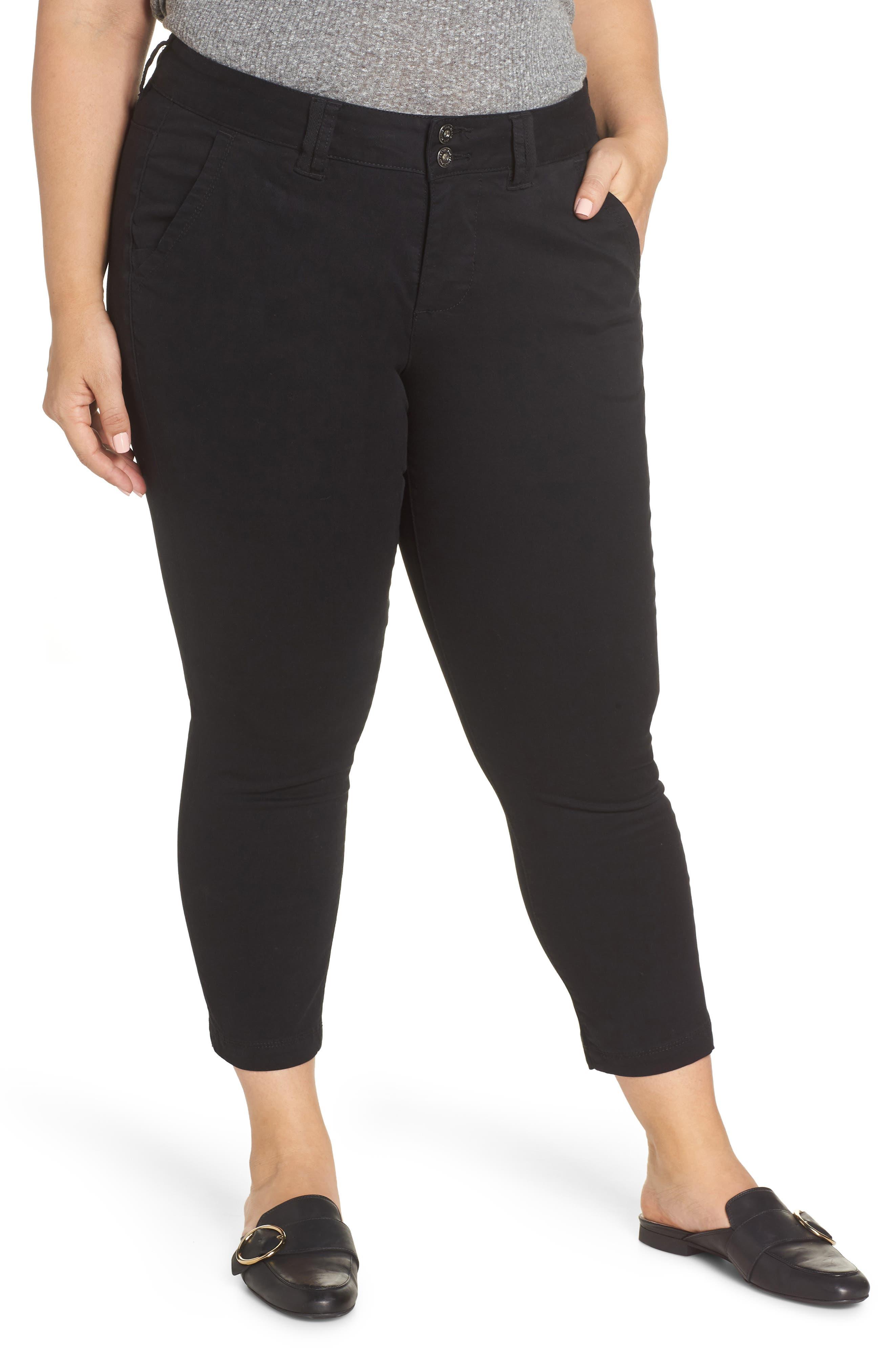 Flora Stretch Cotton Crop Pants,                         Main,                         color, BLACK