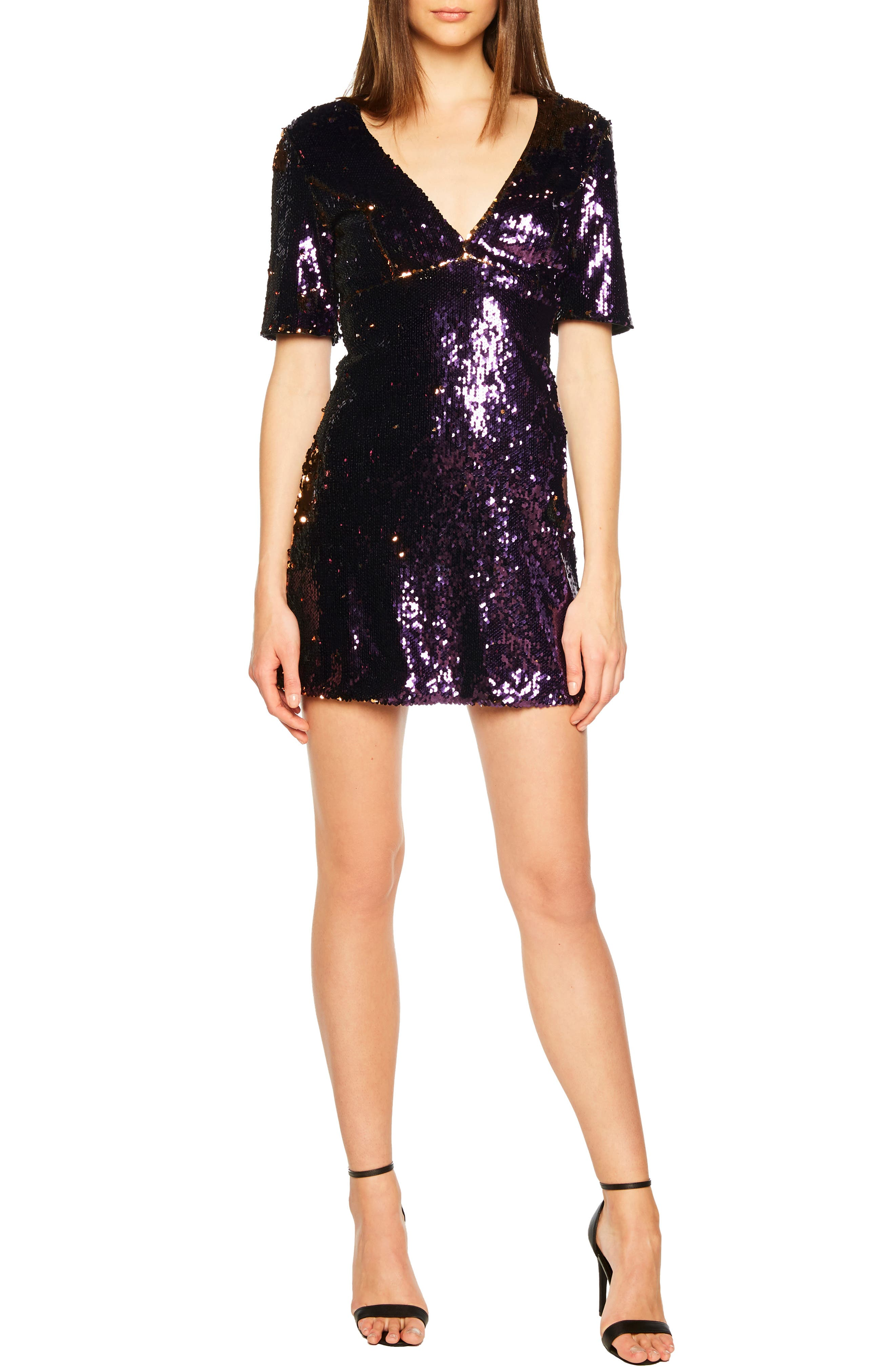 Sequin Embellished Dress,                             Main thumbnail 1, color,                             GOLD/ PURPLE