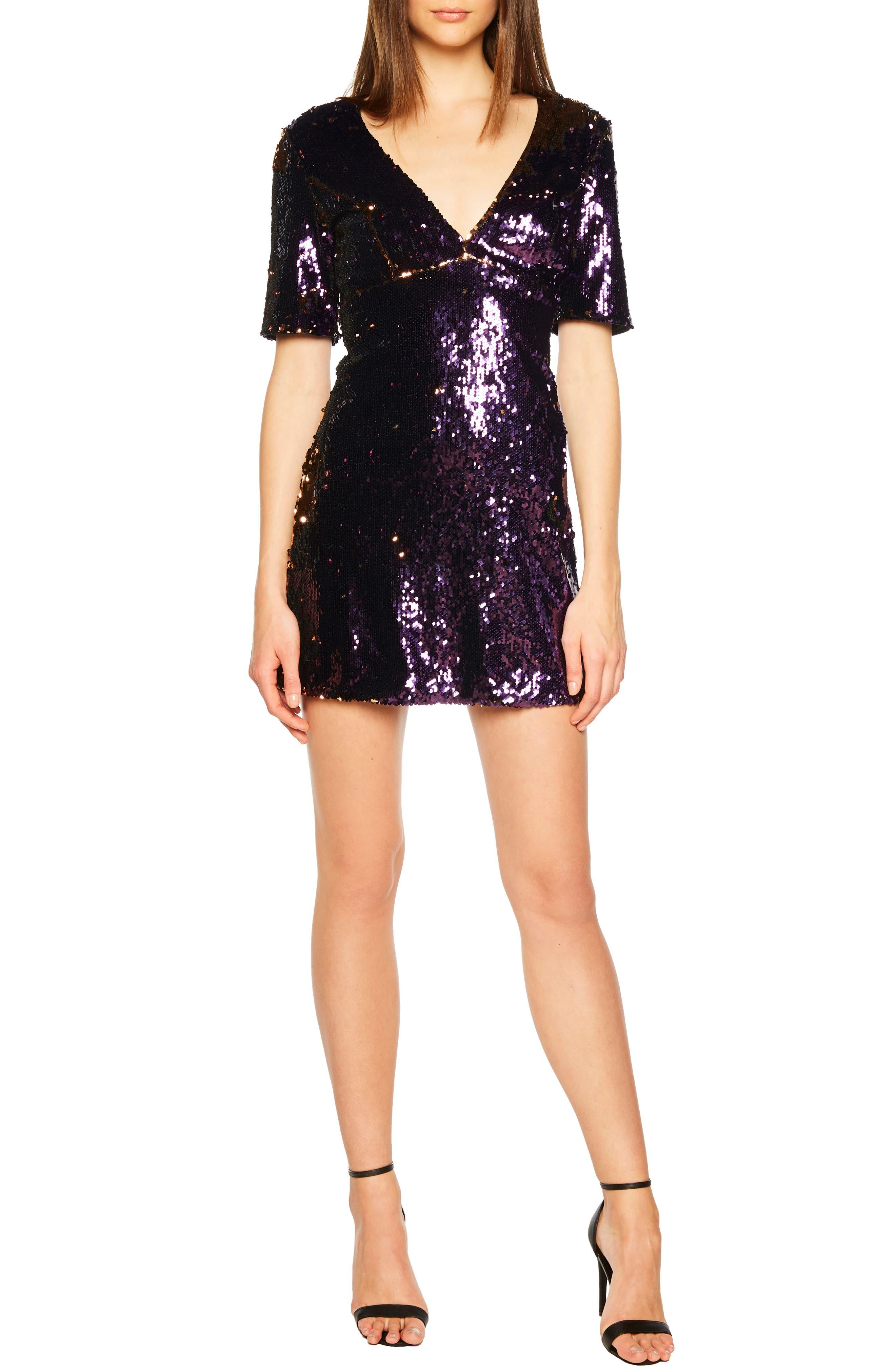 Sequin Embellished Dress,                         Main,                         color, GOLD/ PURPLE
