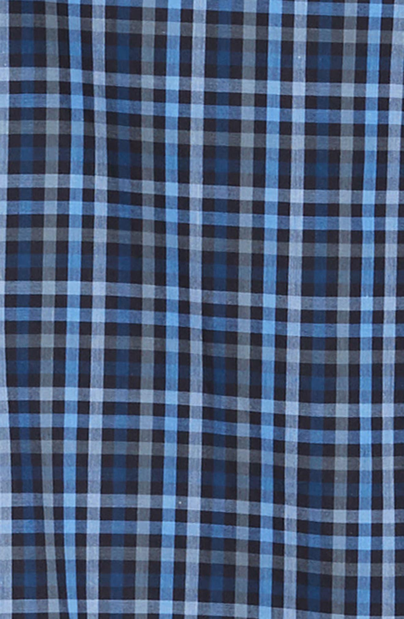 Trim Fit Sport Shirt,                             Alternate thumbnail 6, color,                             NAVY - BLUE MULTI CHECK