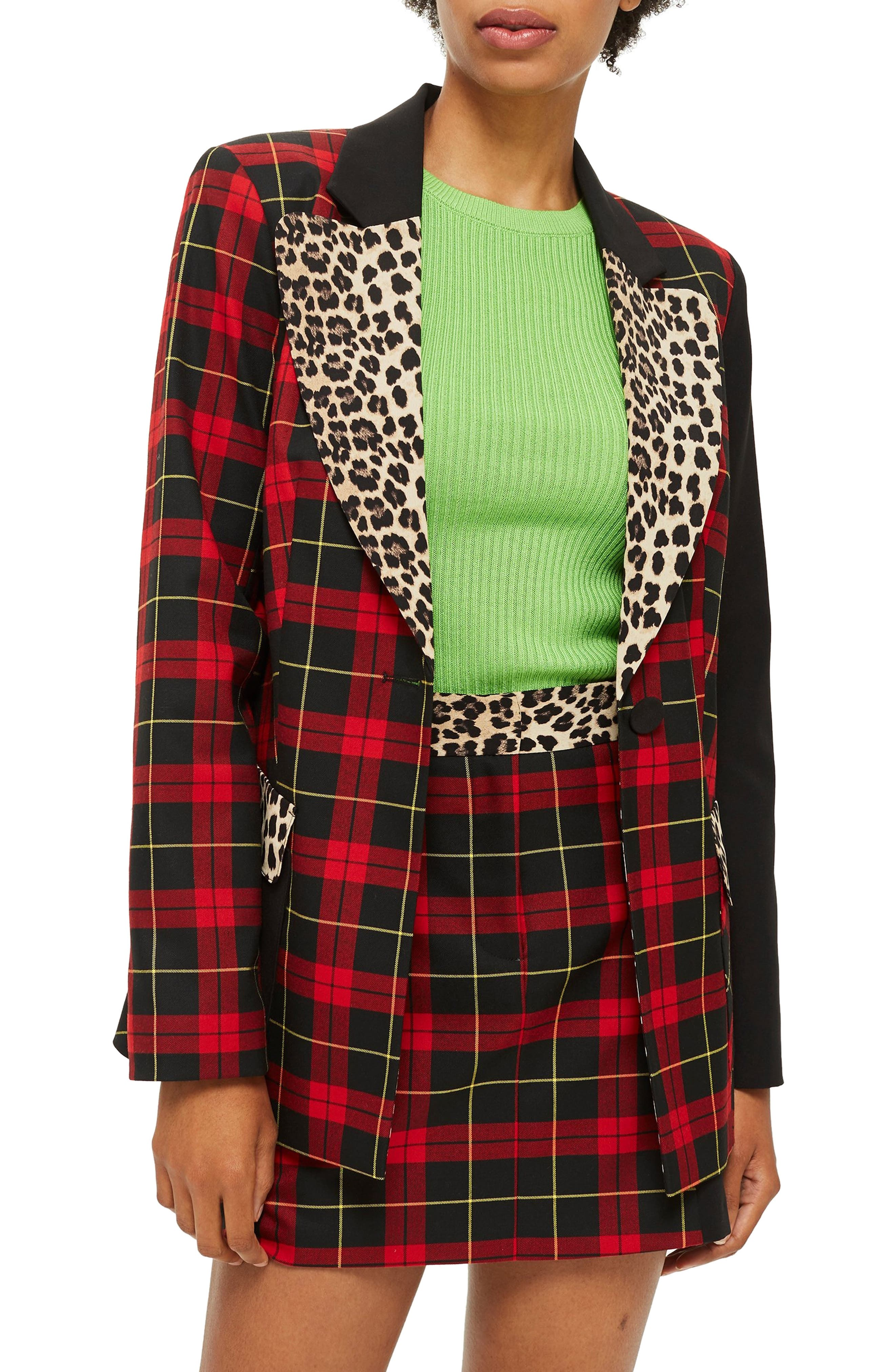 Leopard Trim Tartan Blazer,                             Main thumbnail 1, color,                             RED MULTI