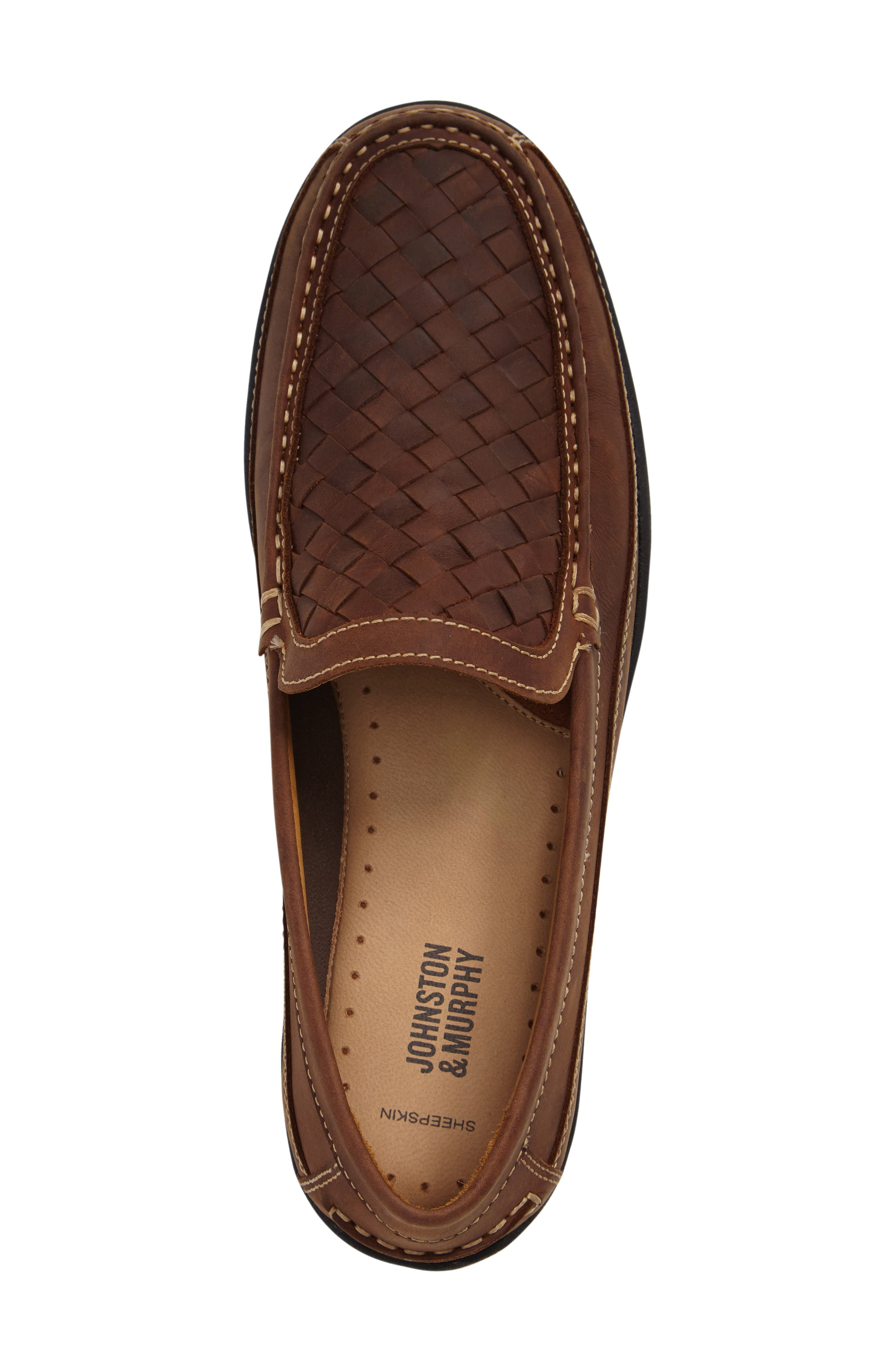 JOHNSTON & MURPHY,                             Fowler Woven Loafer,                             Alternate thumbnail 3, color,                             TAN LEATHER