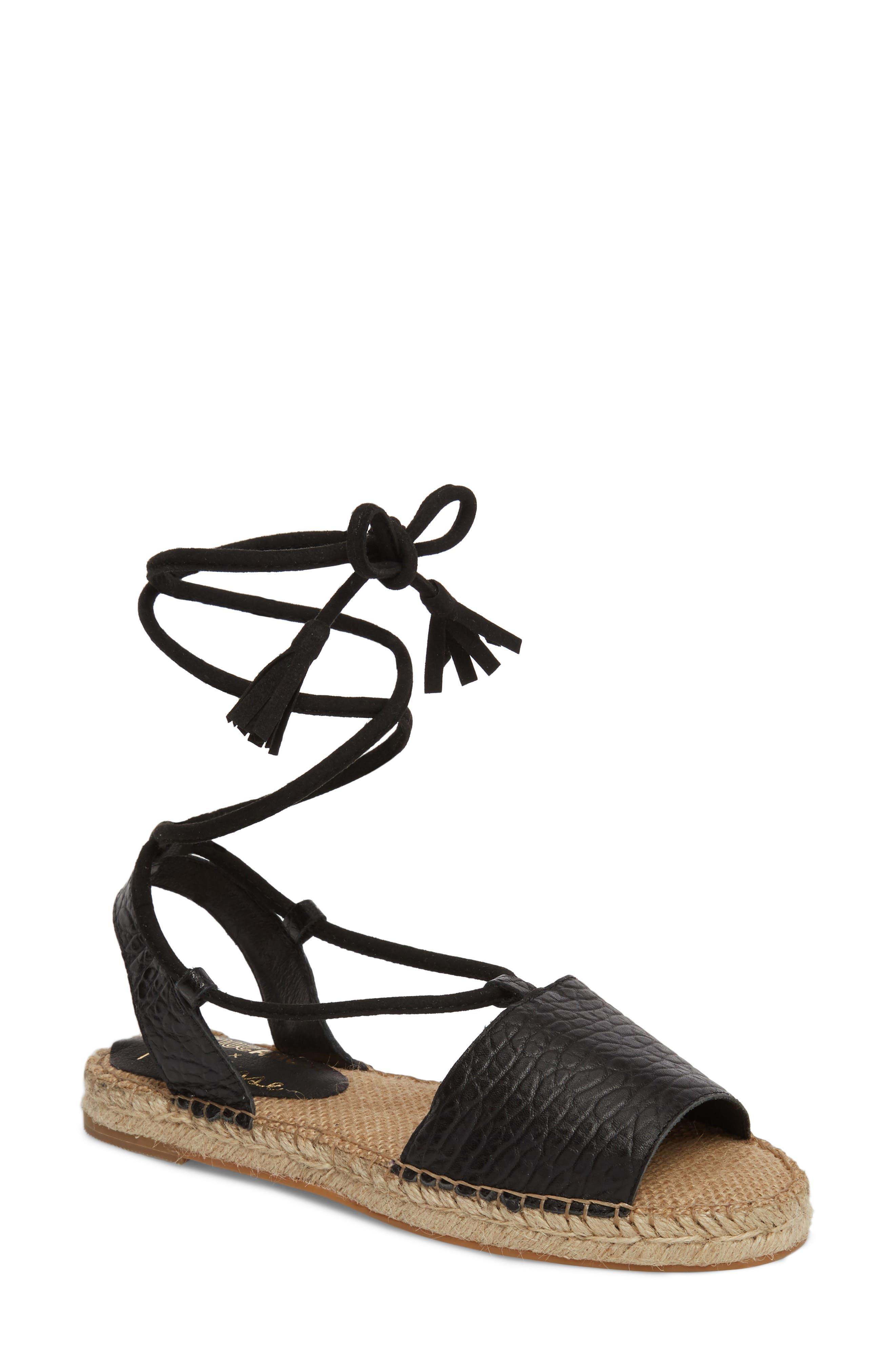 Amuse Society x Matisse La Vita Sandal,                         Main,                         color, BLACK LEATHER
