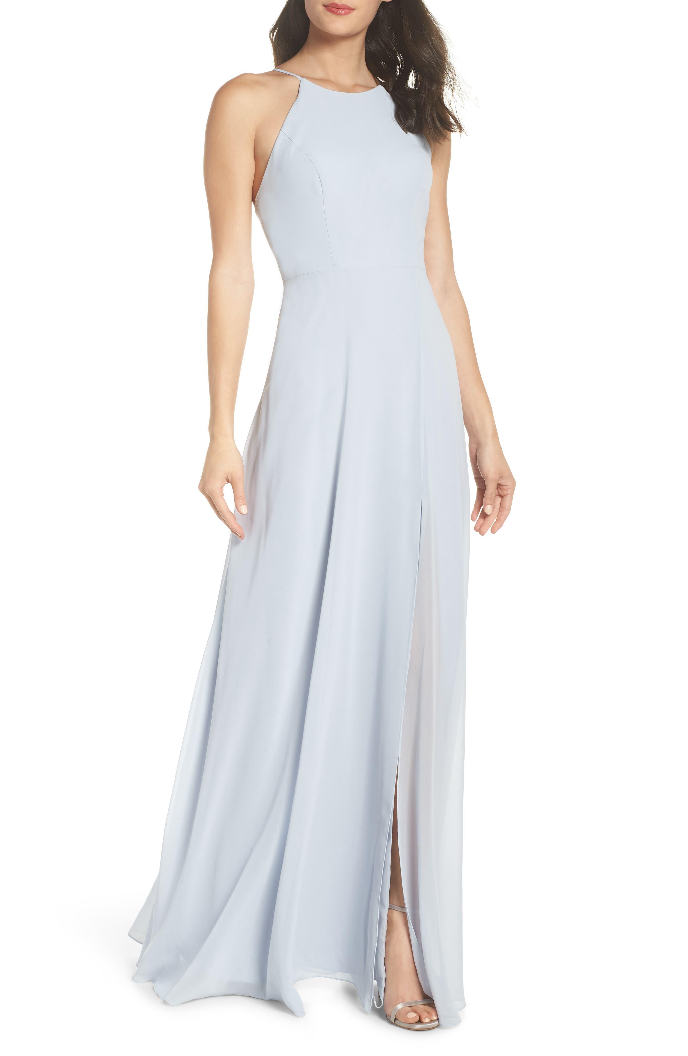 Jenny Yoo Kayla A-Line Halter Gown, Blue