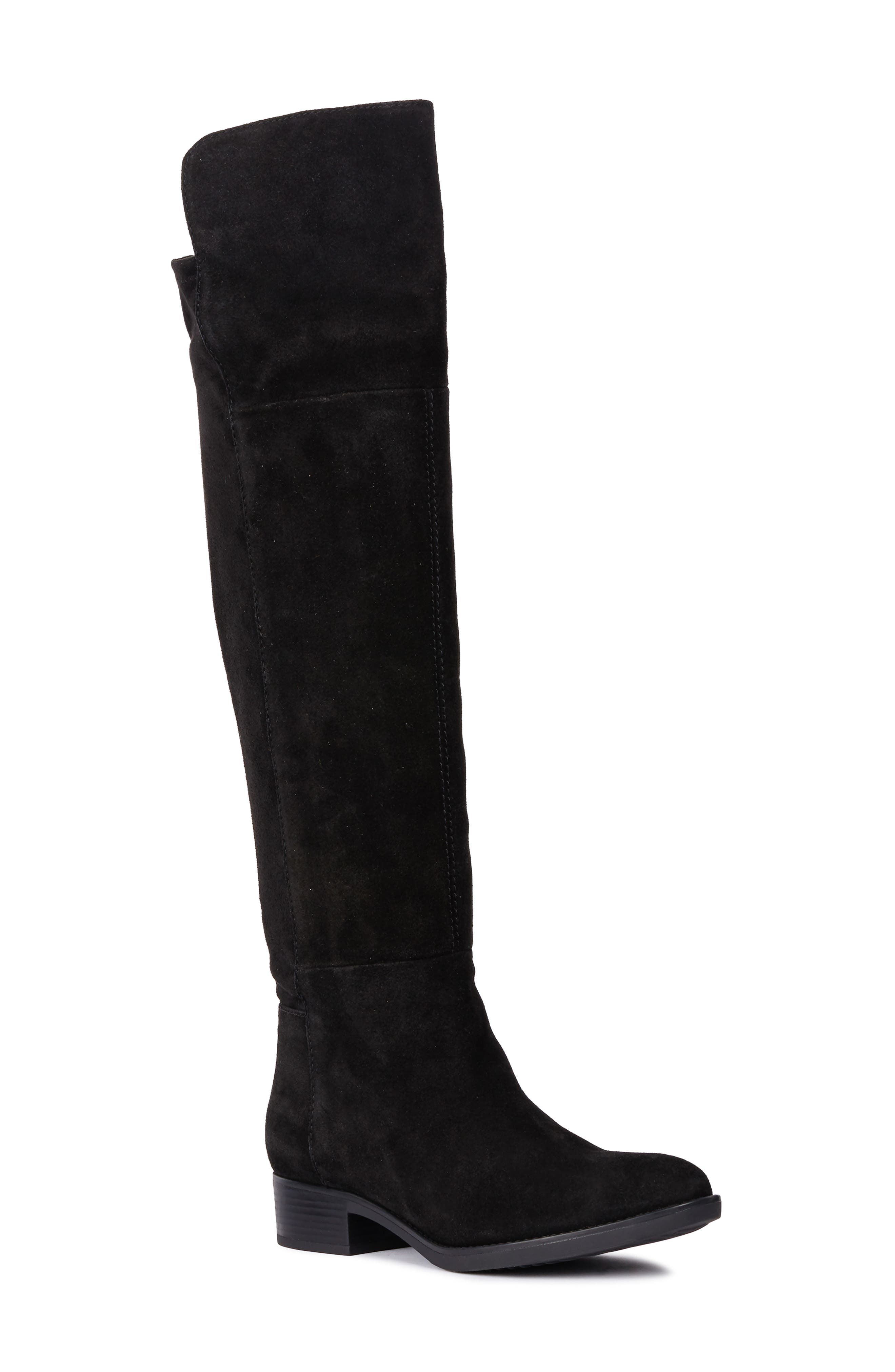 Felicity Knee High Boot,                         Main,                         color, BLACK SUEDE
