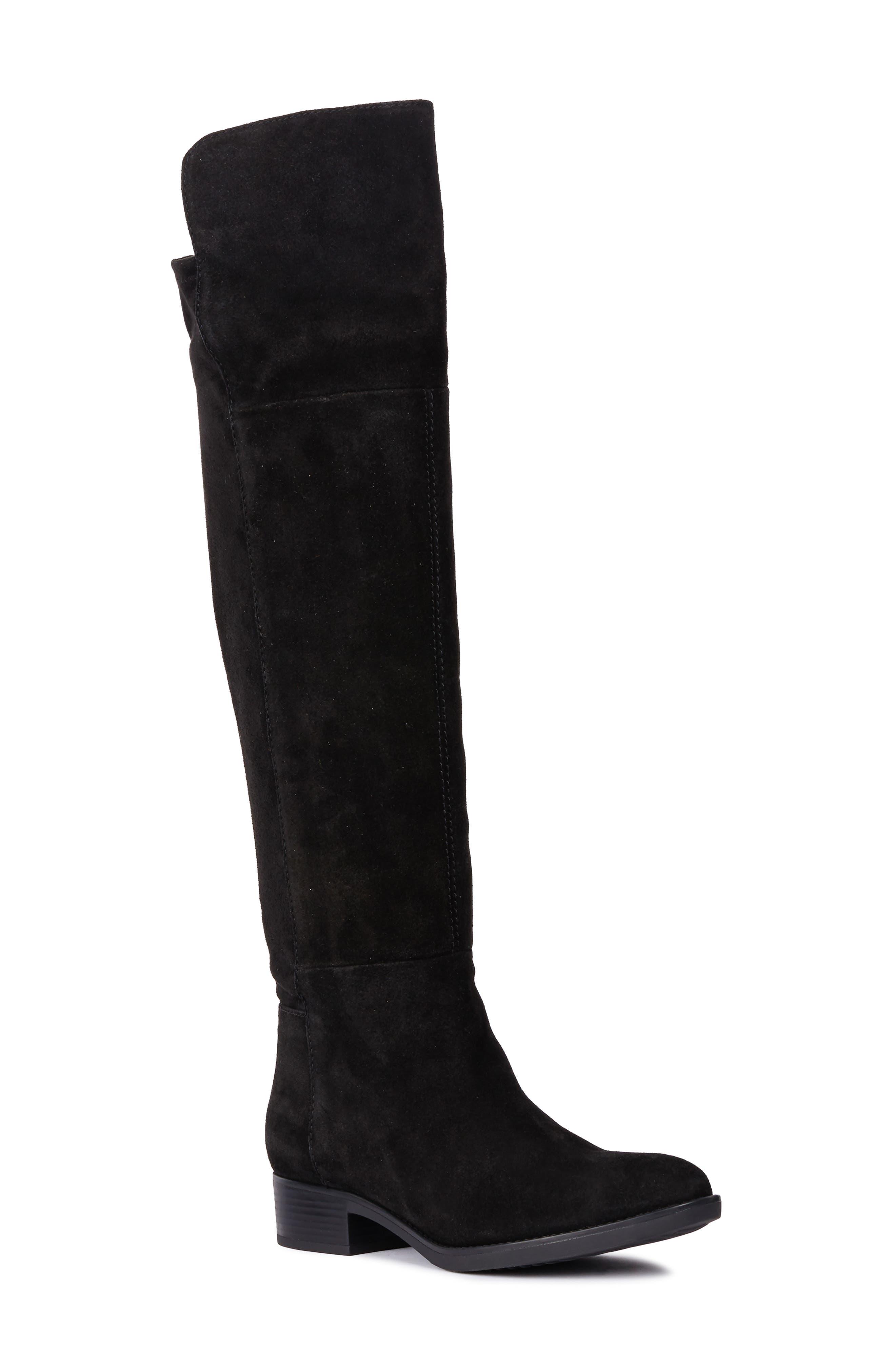 GEOX Felicity Knee High Boot in Black Suede