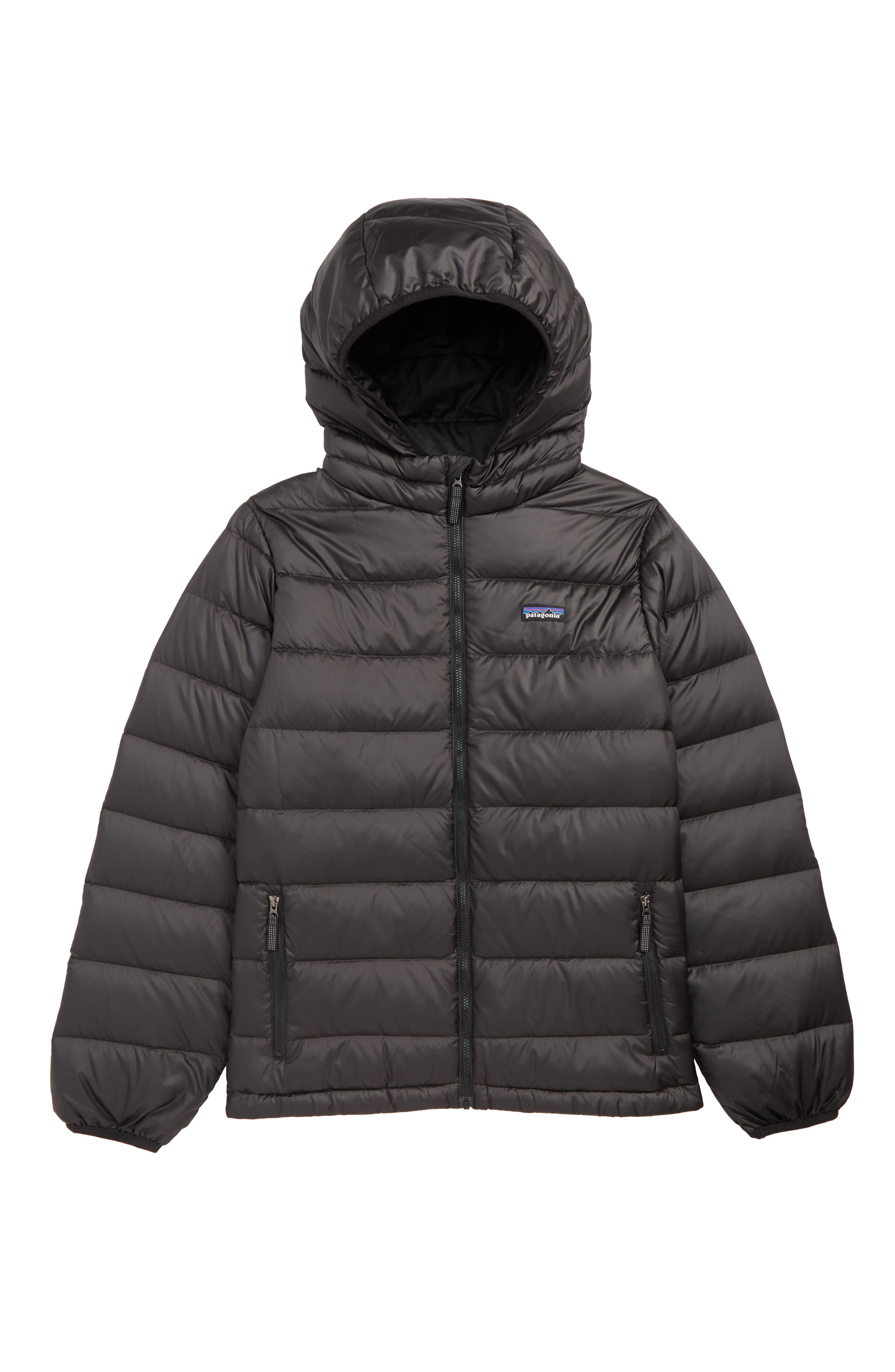 Hooded Down Jacket, Main, color, BLACK