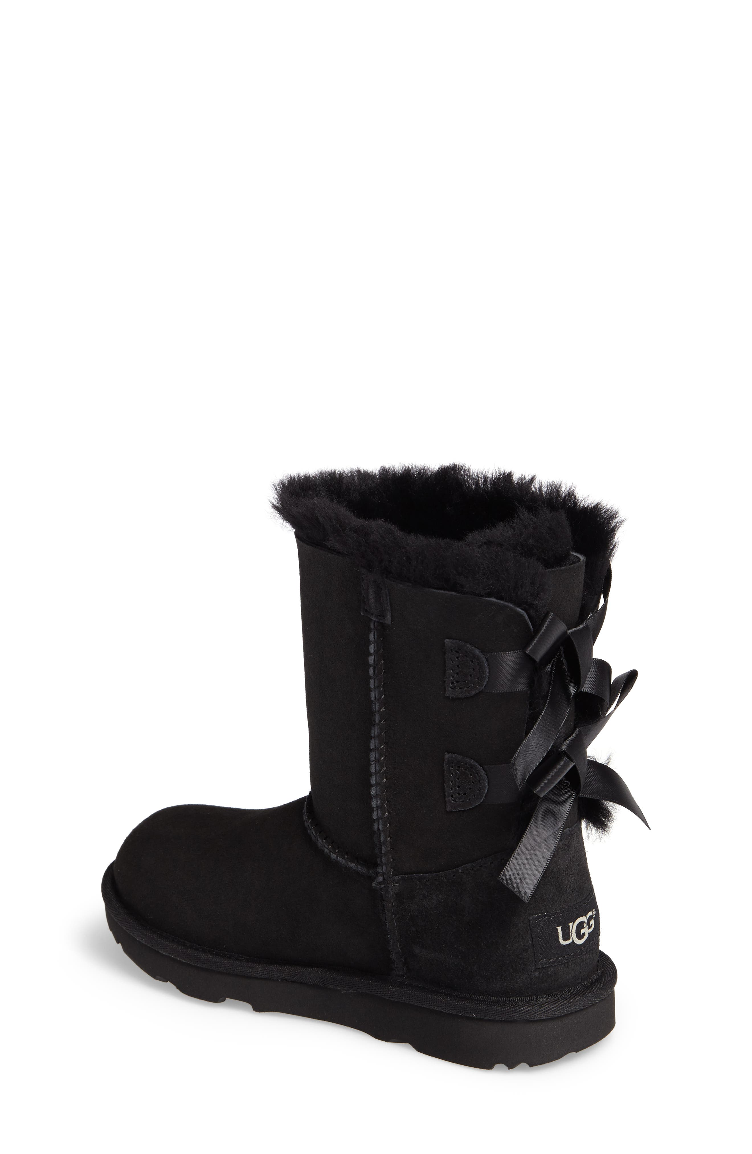 Bailey Bow II Water Resistant Genuine Shearling Boot,                             Alternate thumbnail 2, color,                             BLACK SUEDE