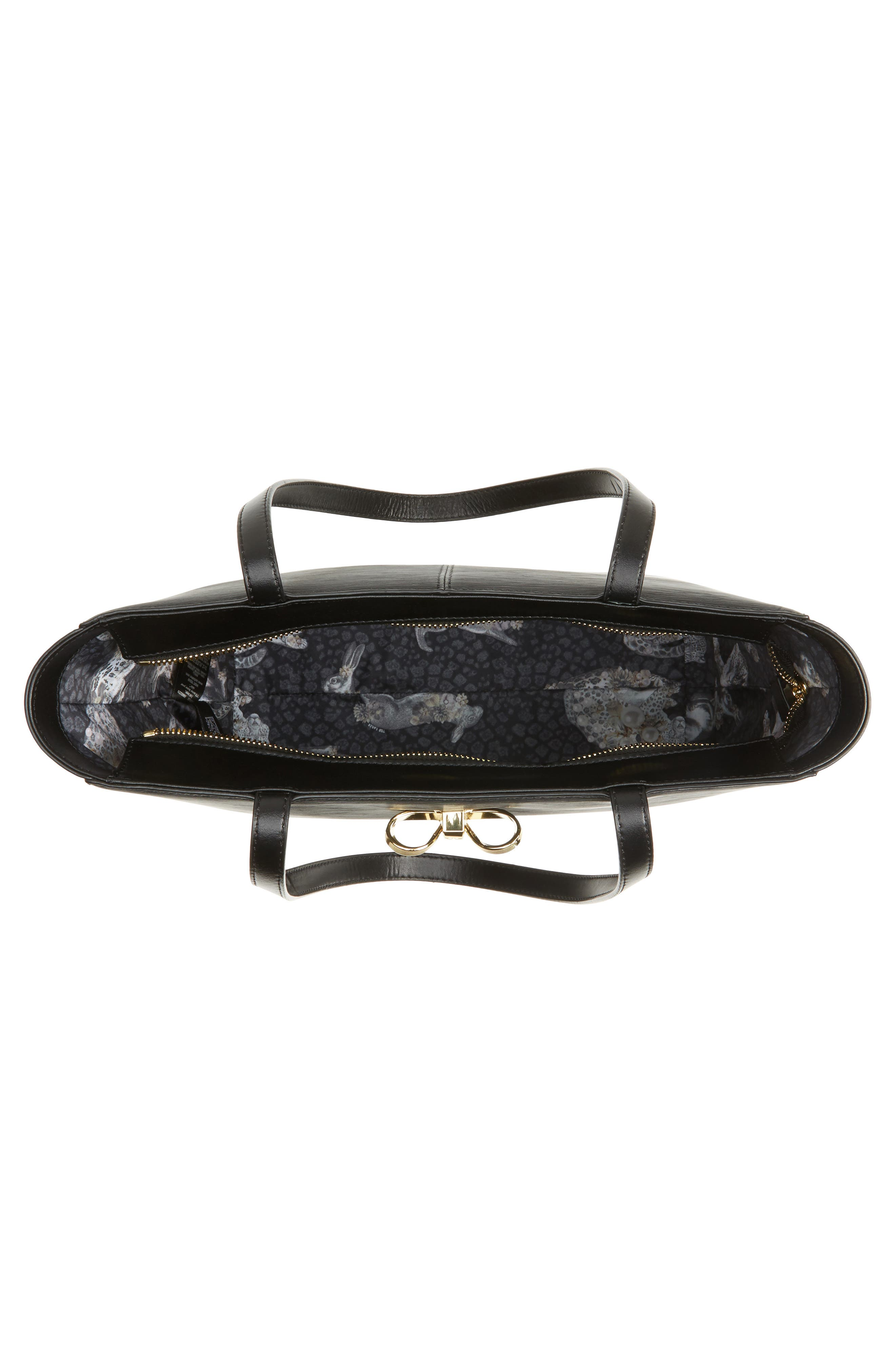 Larah Looped Bow Leather Shopper,                             Alternate thumbnail 4, color,                             001