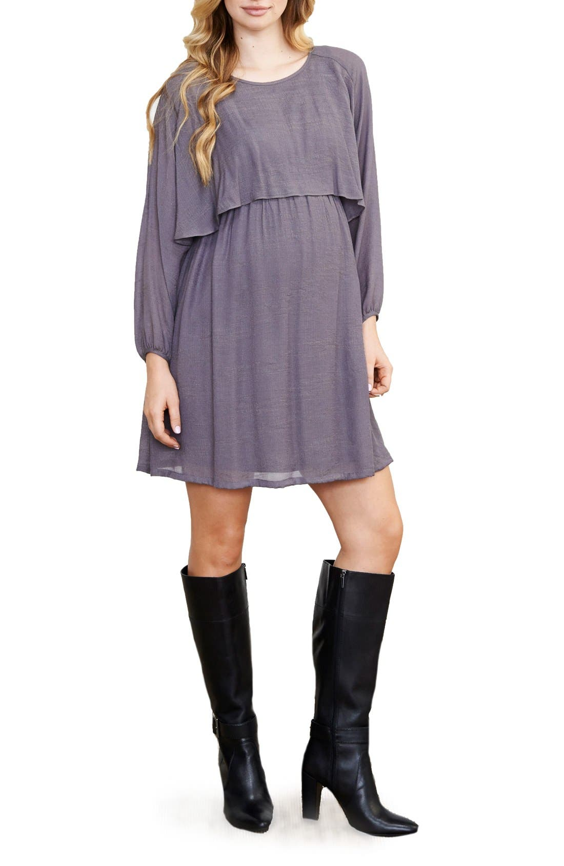 Blouson Maternity/Nursing Dress,                         Main,                         color, 020