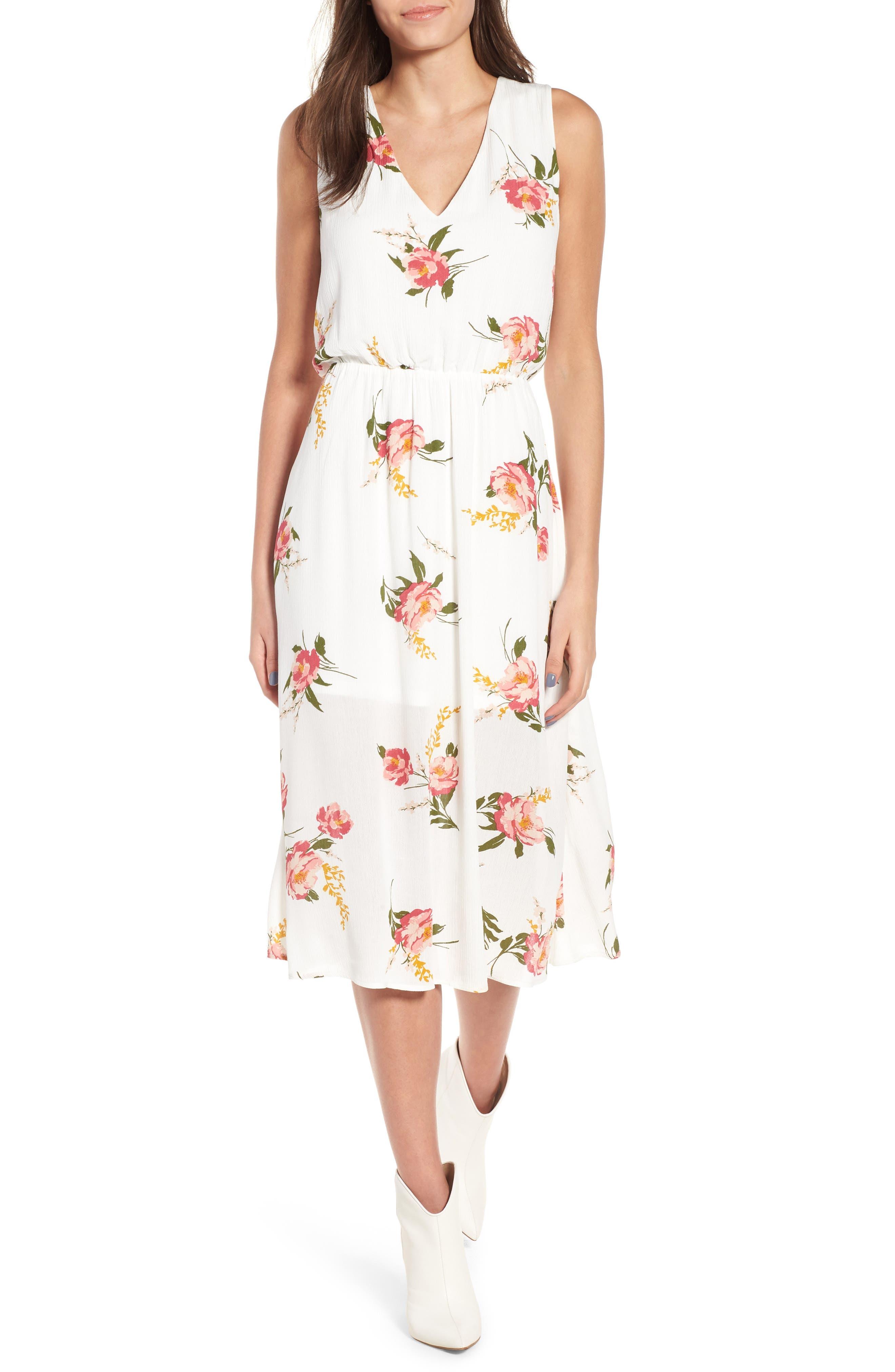 Sleeveless Blouson Midi Dress,                         Main,                         color, 900