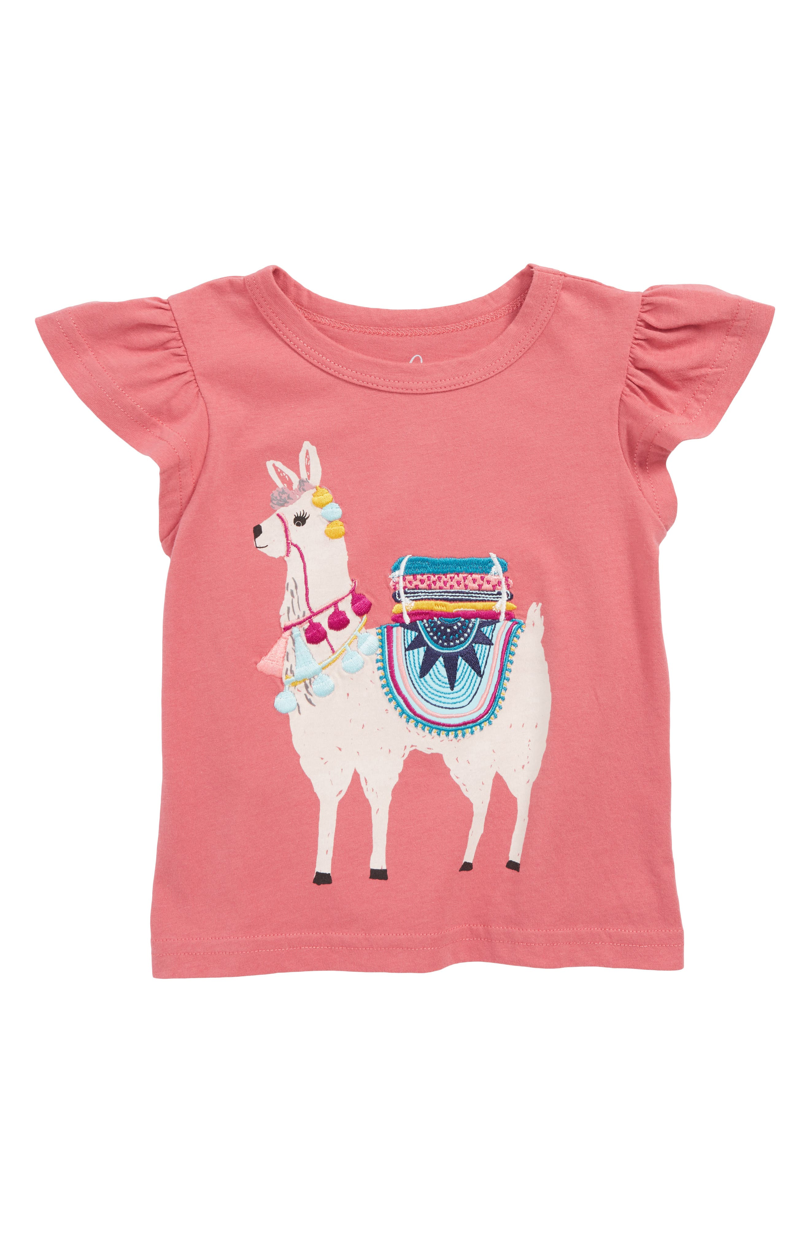 Llama Embroidered Tee,                         Main,                         color, PINK