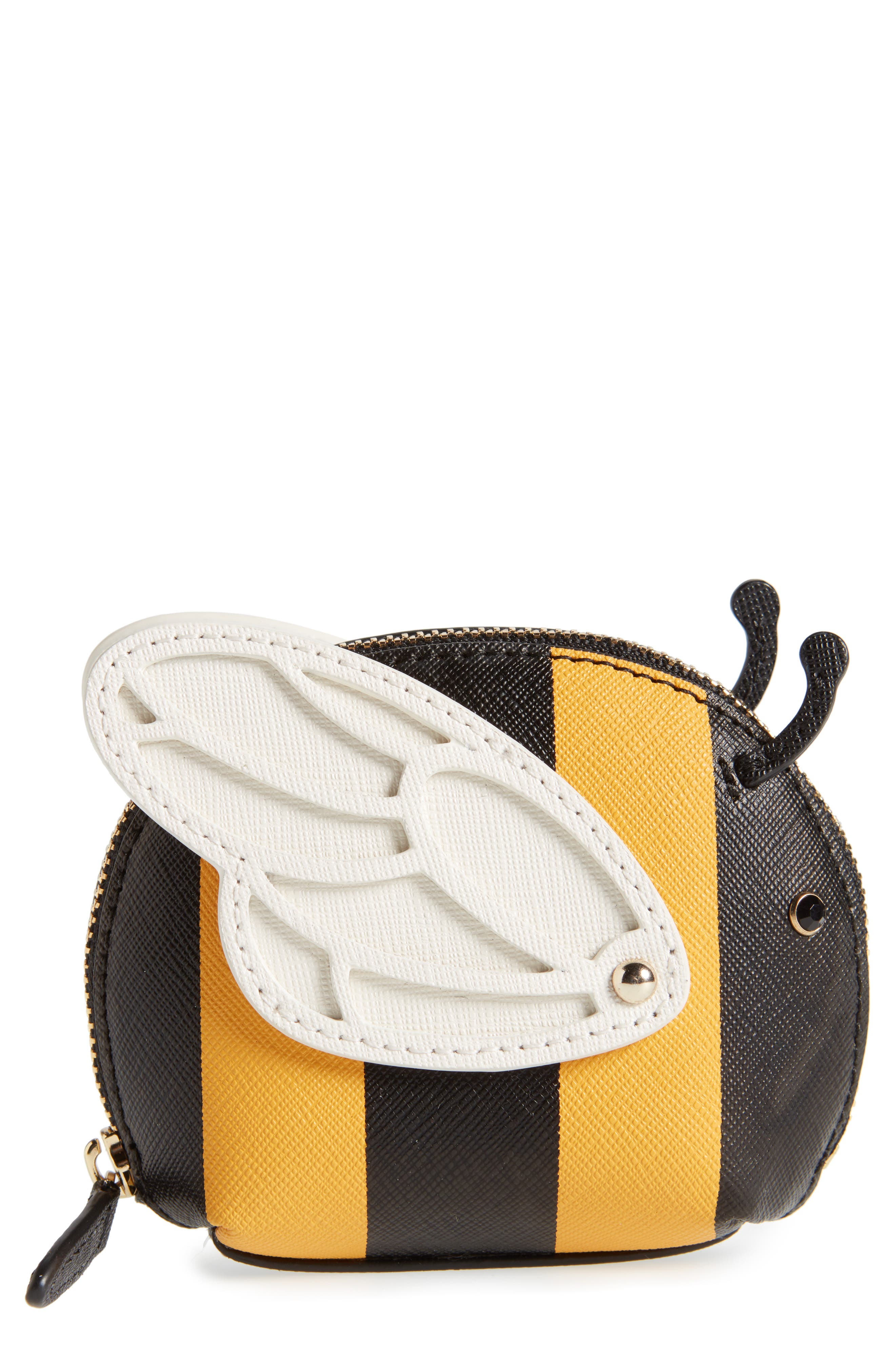 picnic perfect bee stripe leather coin purse,                             Main thumbnail 1, color,