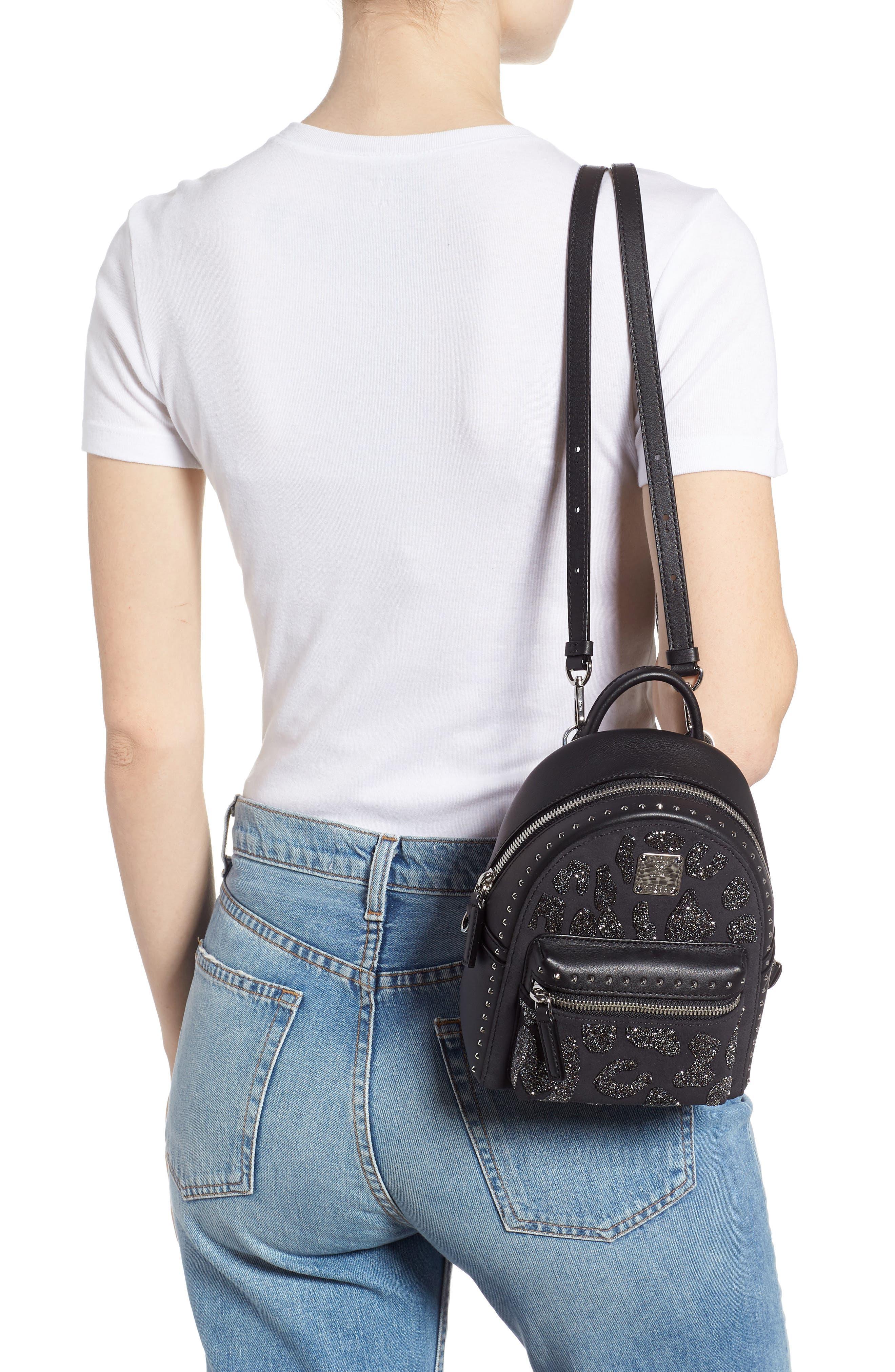 MCM,                             X Mini Stark Crystal Glitter Coated Canvas Backpack,                             Alternate thumbnail 2, color,                             BLACK