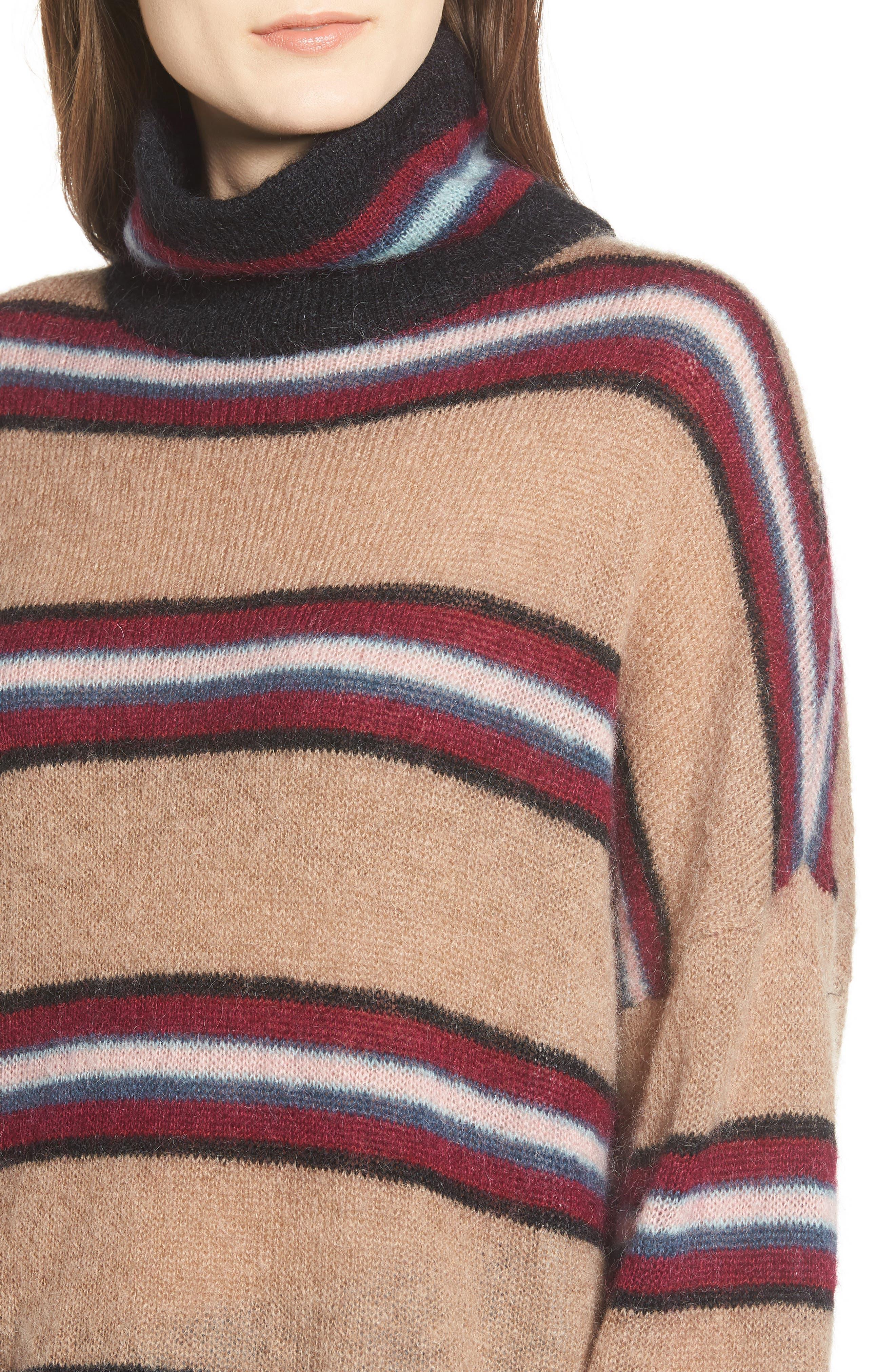 Ella Stripe Turtleneck Sweater,                             Alternate thumbnail 4, color,                             250