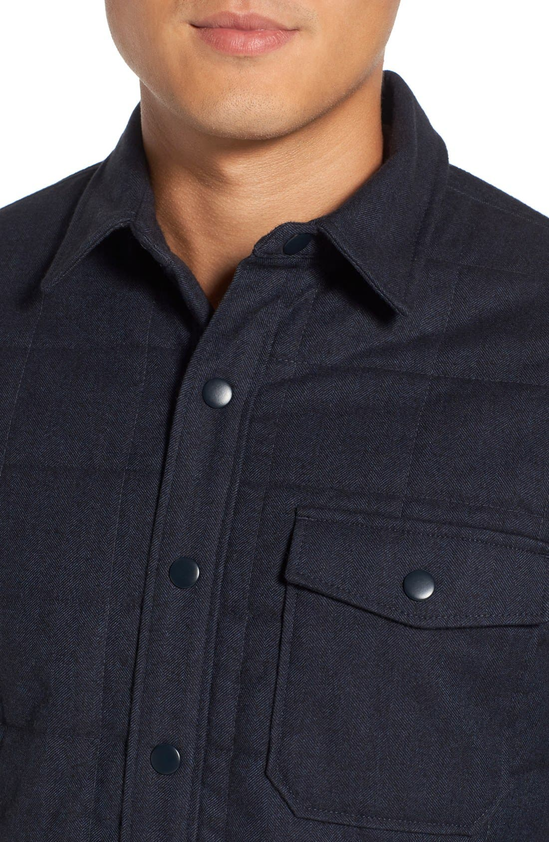Quilted Herringbone Shirt Jacket,                             Alternate thumbnail 3, color,