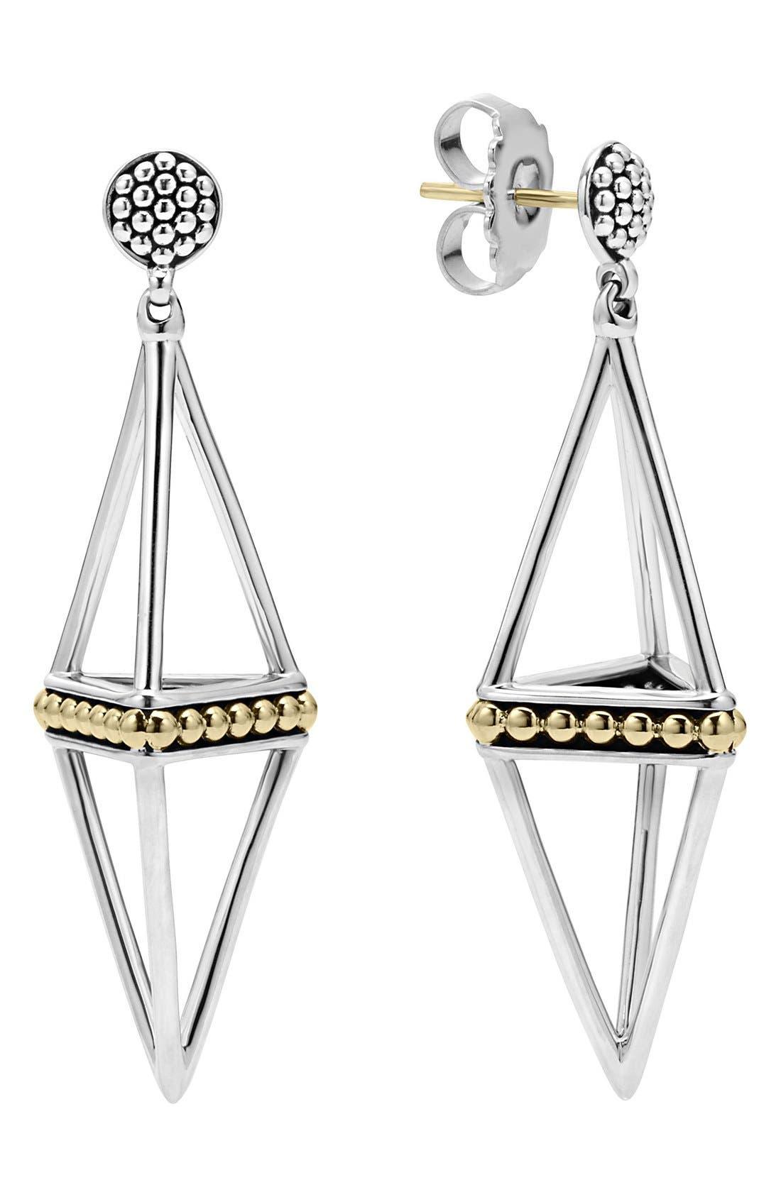 'KSL' Pyramid Drop Earrings,                         Main,                         color, SILVER/ GOLD