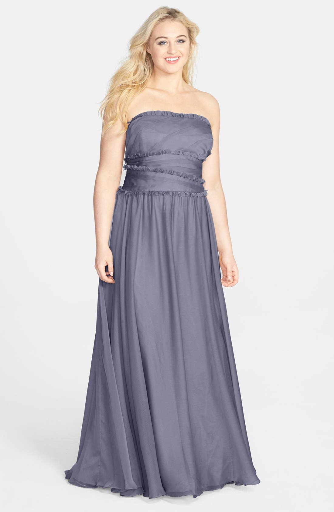 ML Monique Lhuillier Bridesmaids Strapless Chiffon Gown,                             Alternate thumbnail 47, color,
