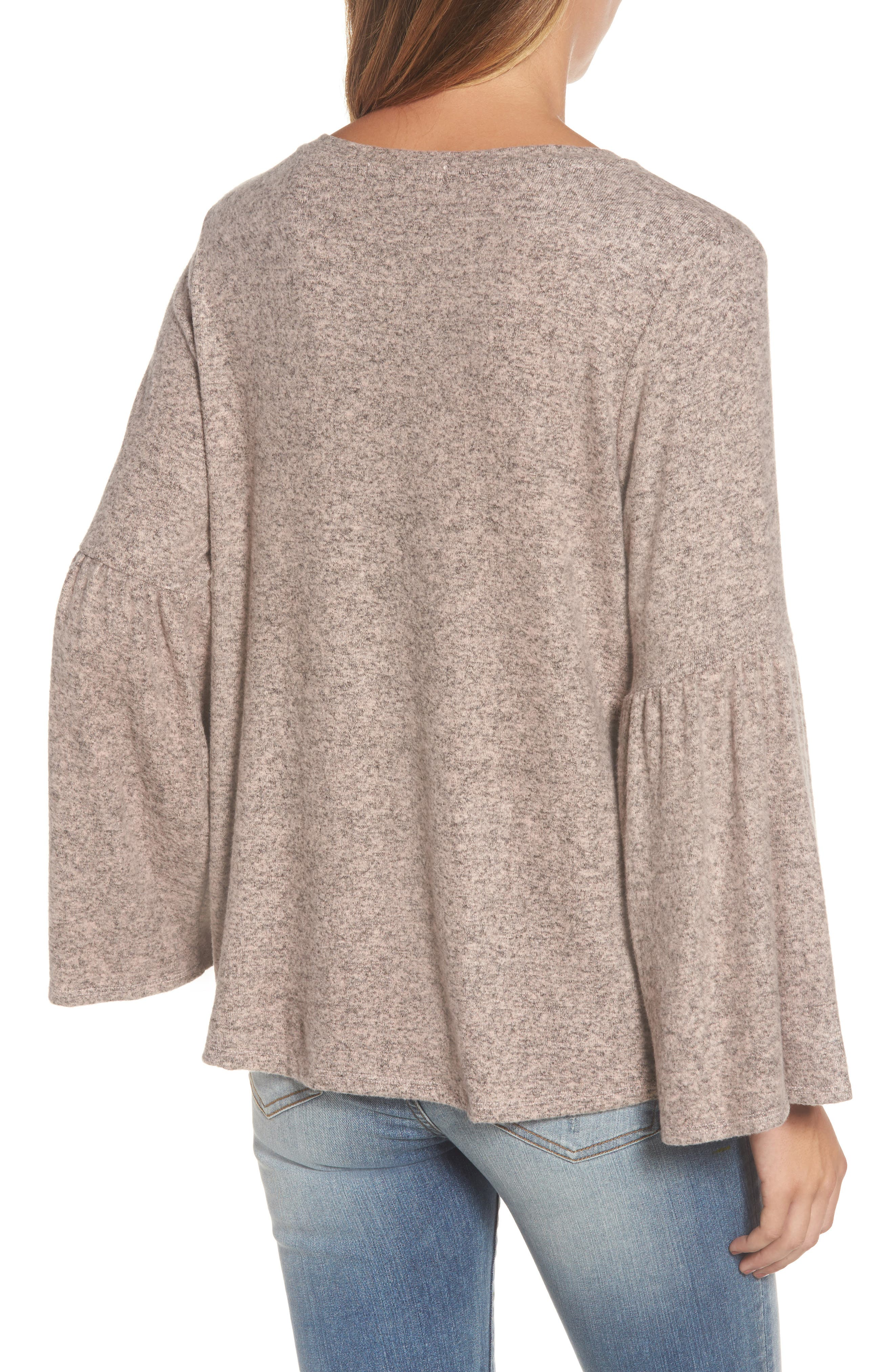 Bell Sleeve Cozy Fleece Pullover,                             Alternate thumbnail 18, color,