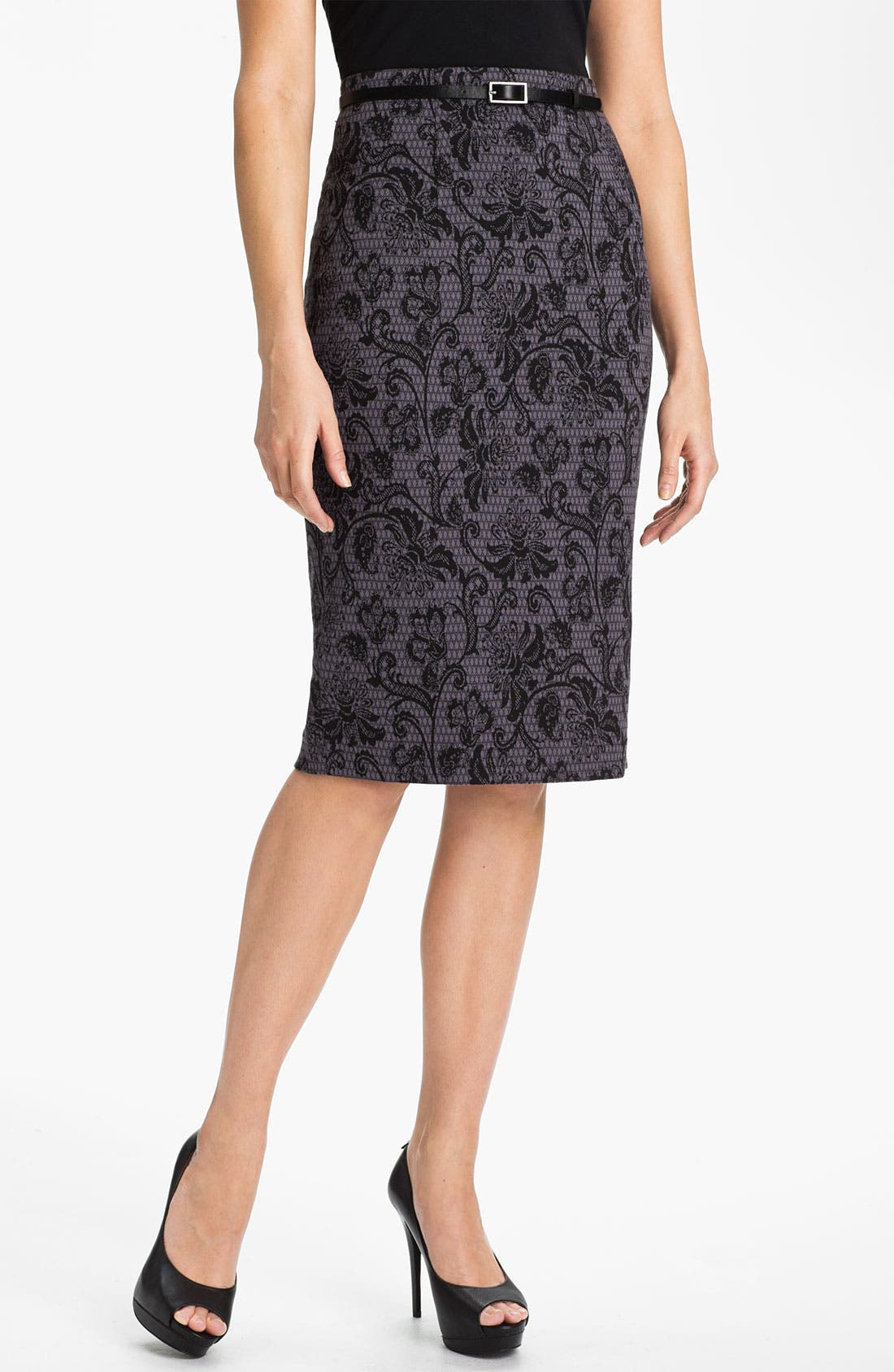 Belted Ponte Skirt,                             Main thumbnail 4, color,