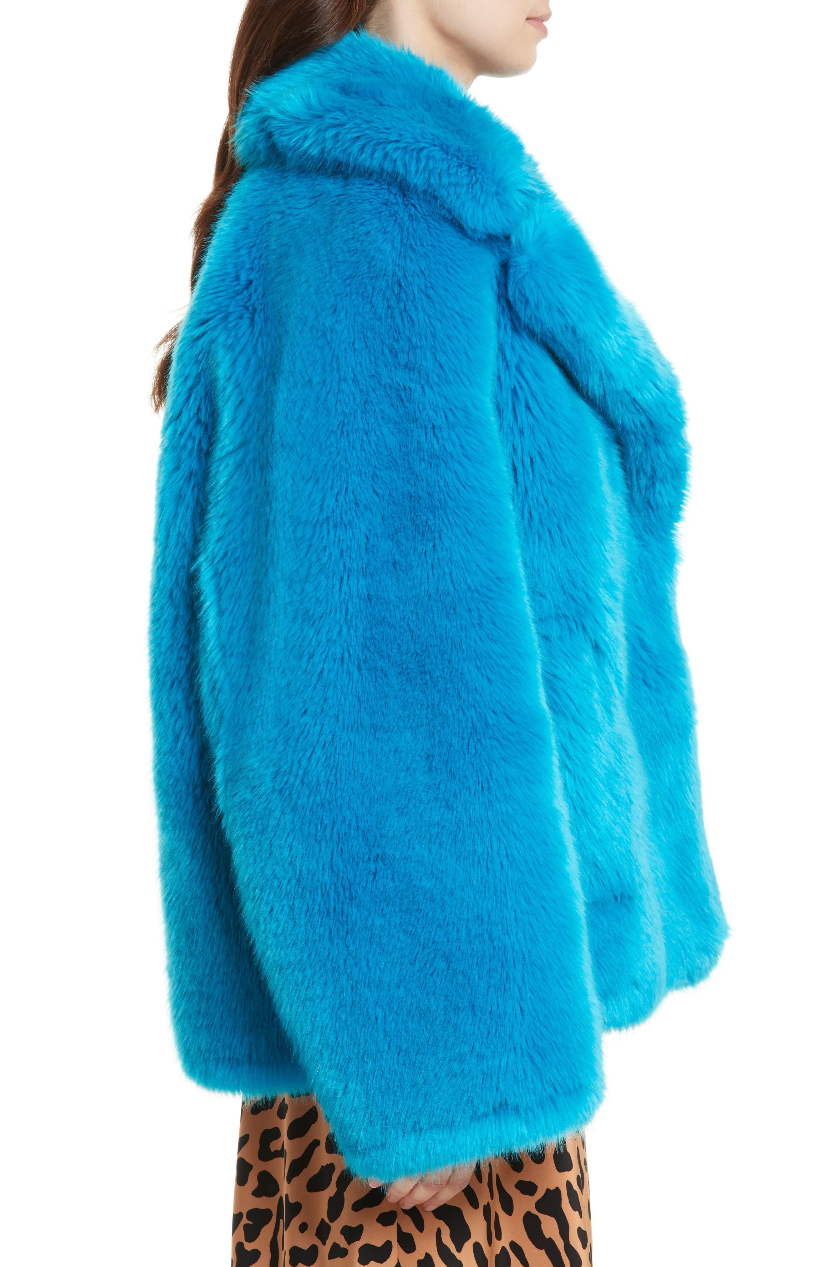 DIANE VON FURSTENBERG,                             Faux Fur Jacket,                             Alternate thumbnail 3, color,                             403