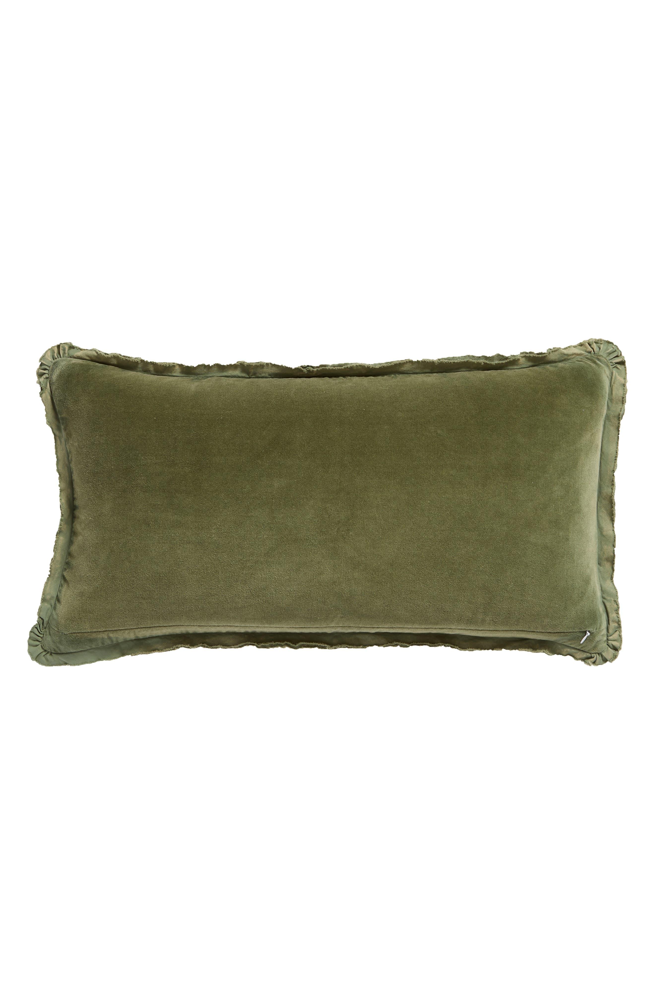 Velvet Accent Pillow,                             Alternate thumbnail 2, color,                             GREEN SORREL