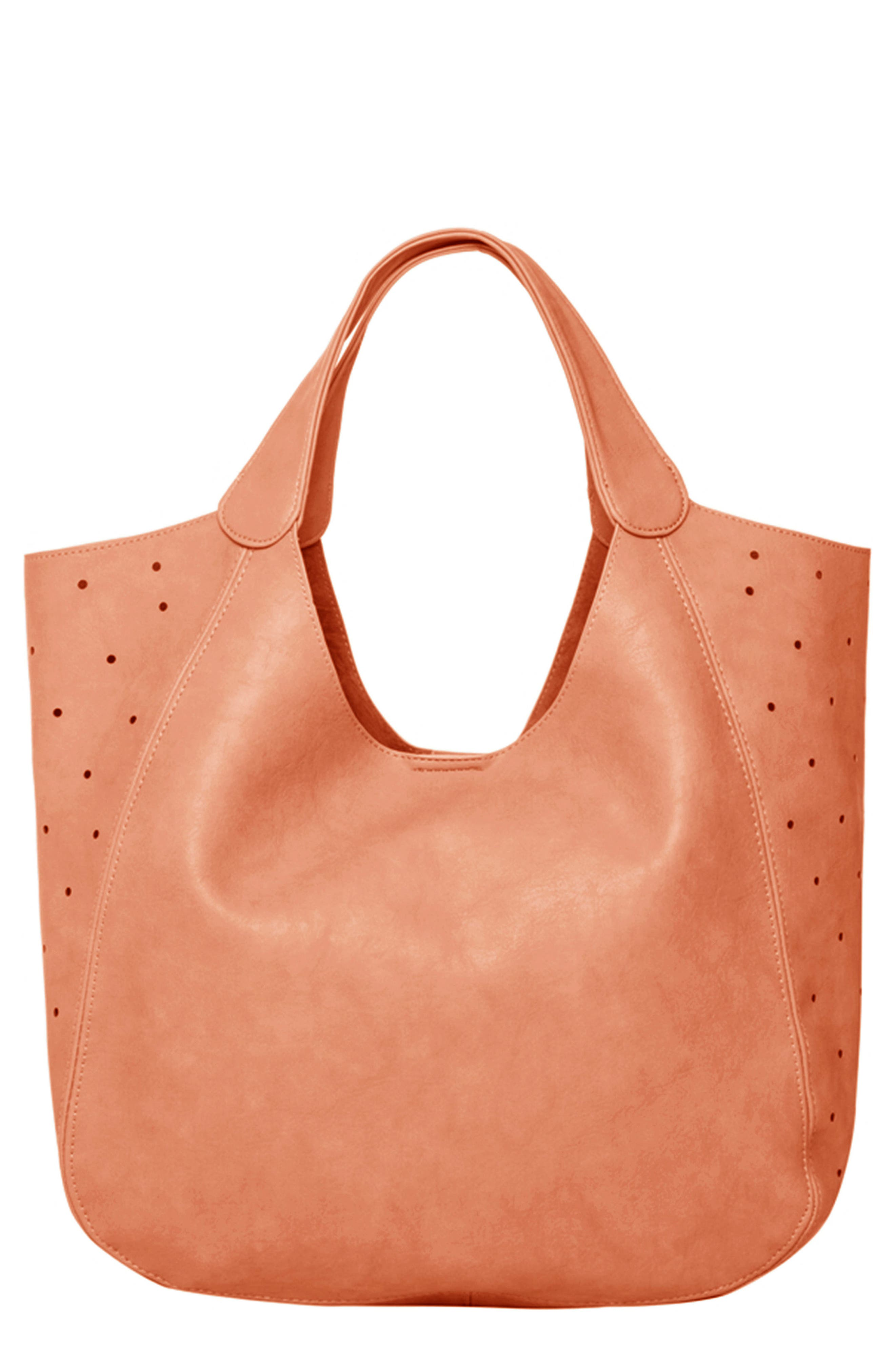 Masterpiece Perforated Vegan Leather Hobo,                             Main thumbnail 1, color,                             ROSE PINK