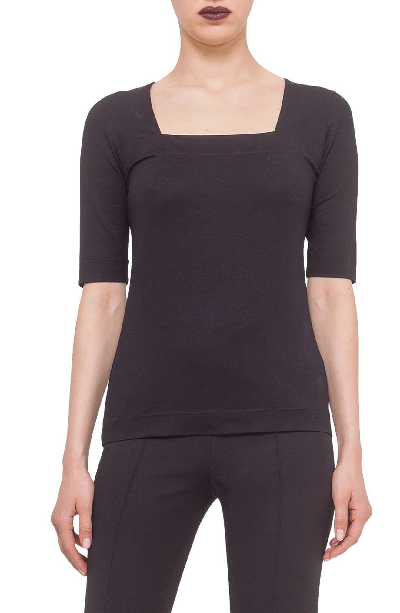 Square Neck Jersey Tee,                             Main thumbnail 1, color,                             BLACK