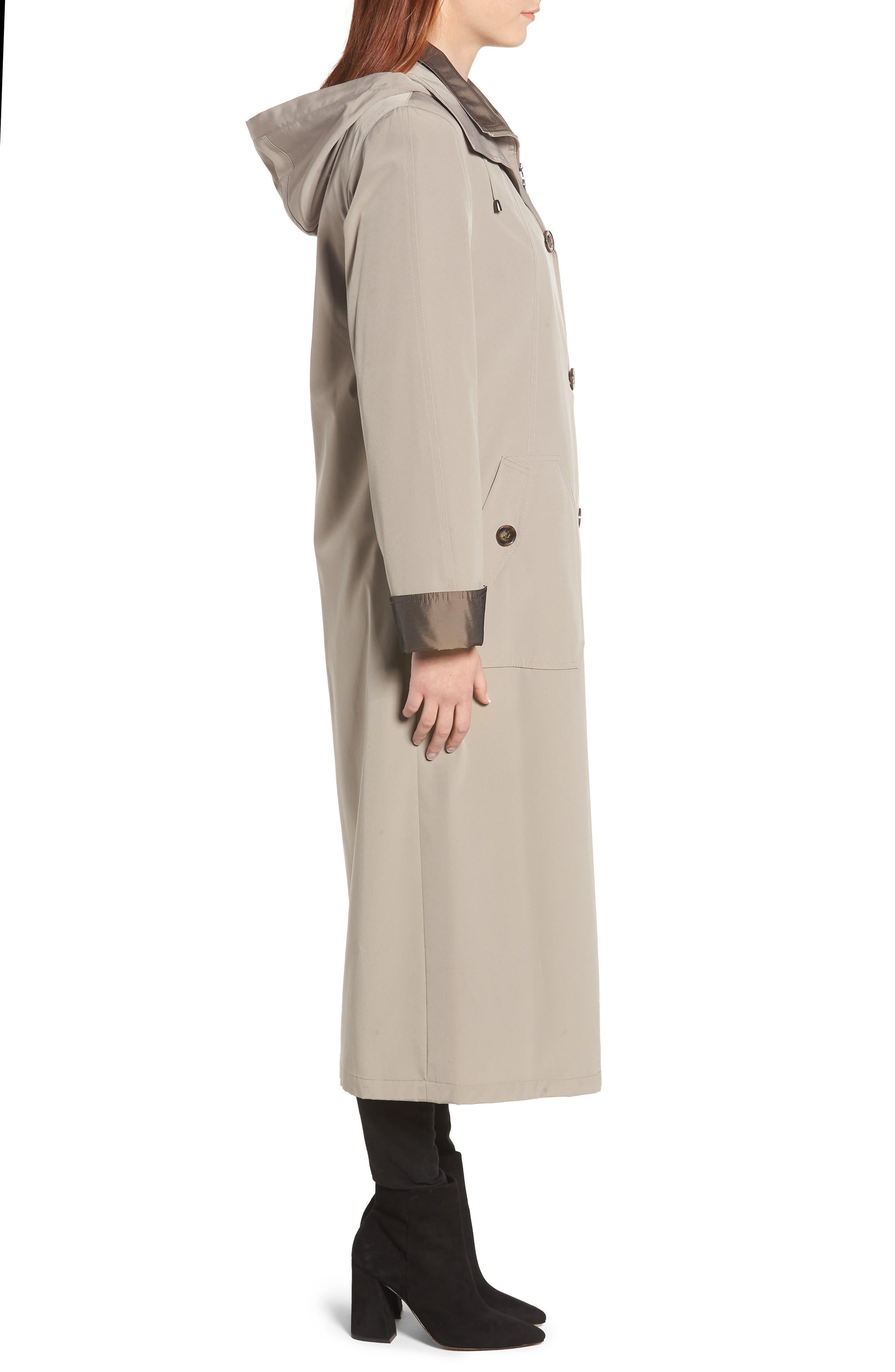 Full Length Two-Tone Silk Look Raincoat,                             Alternate thumbnail 3, color,                             MUSHROOM