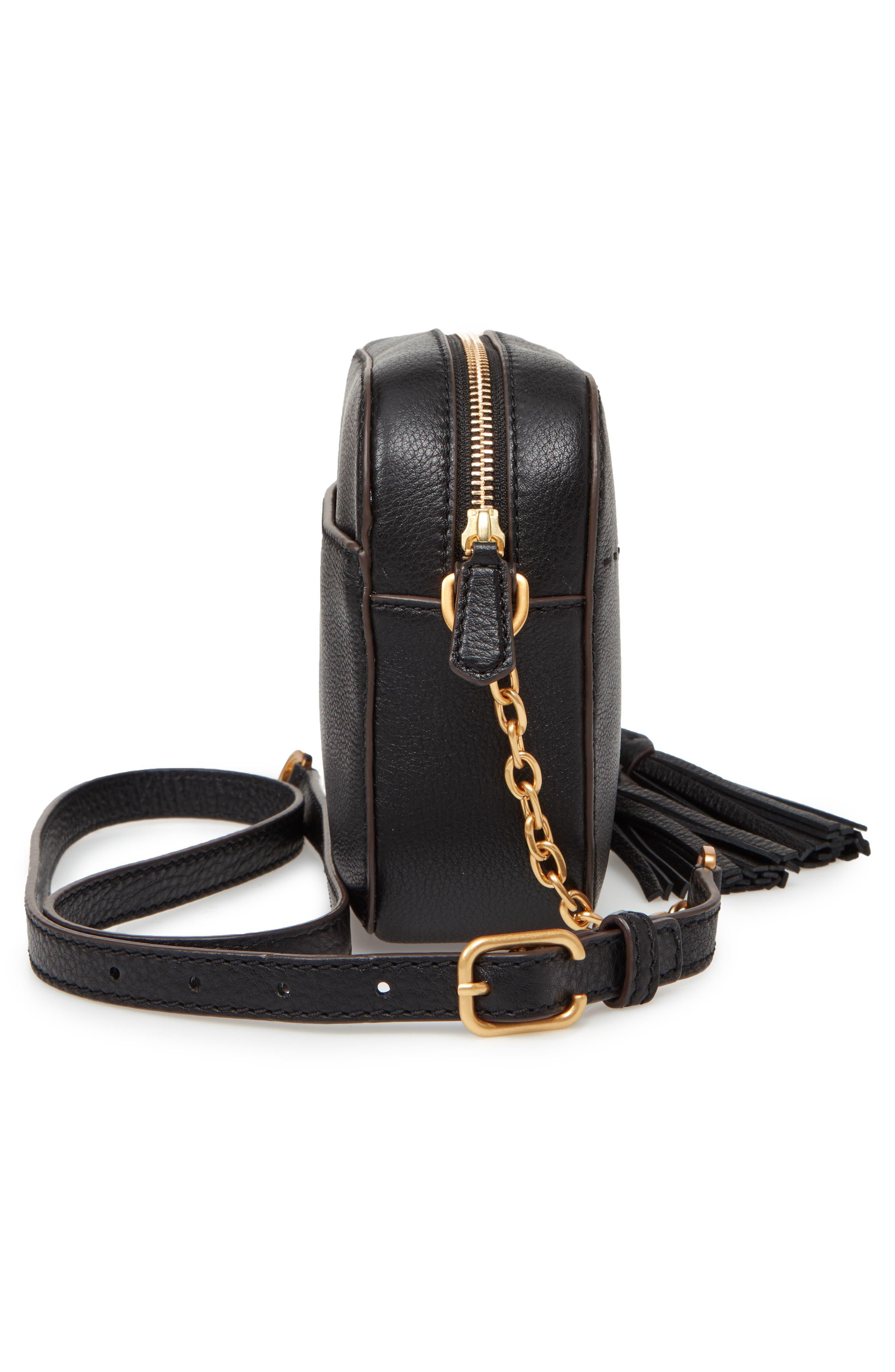 McGraw Leather Camera Bag,                             Alternate thumbnail 5, color,                             BLACK