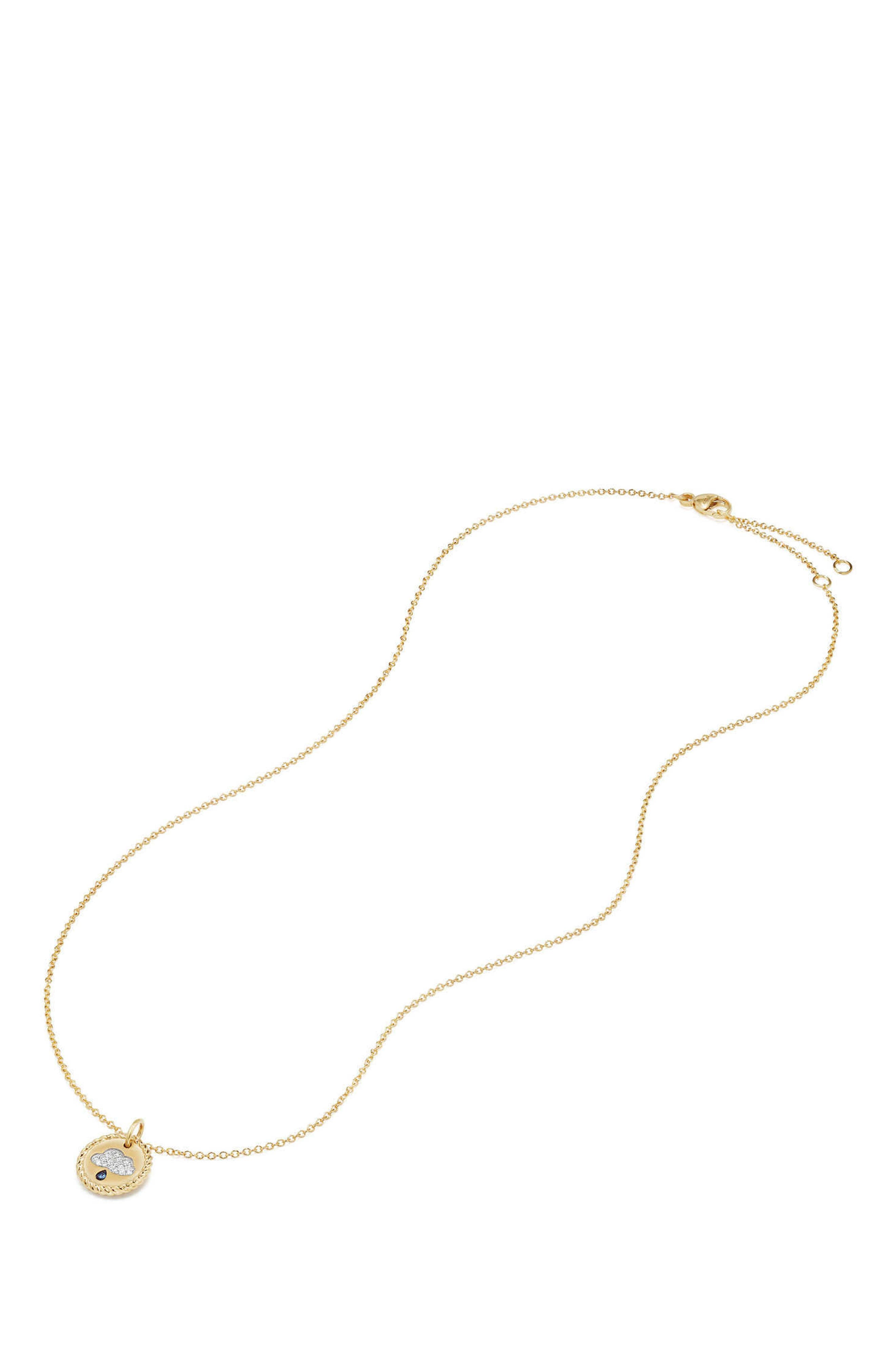 Cable Collectibles Raincloud Necklace with Diamonds & Light Blue Sapphires in 18K Gold,                             Alternate thumbnail 2, color,                             GOLD/ DIAMOND/ BLUE SAPPHIRE