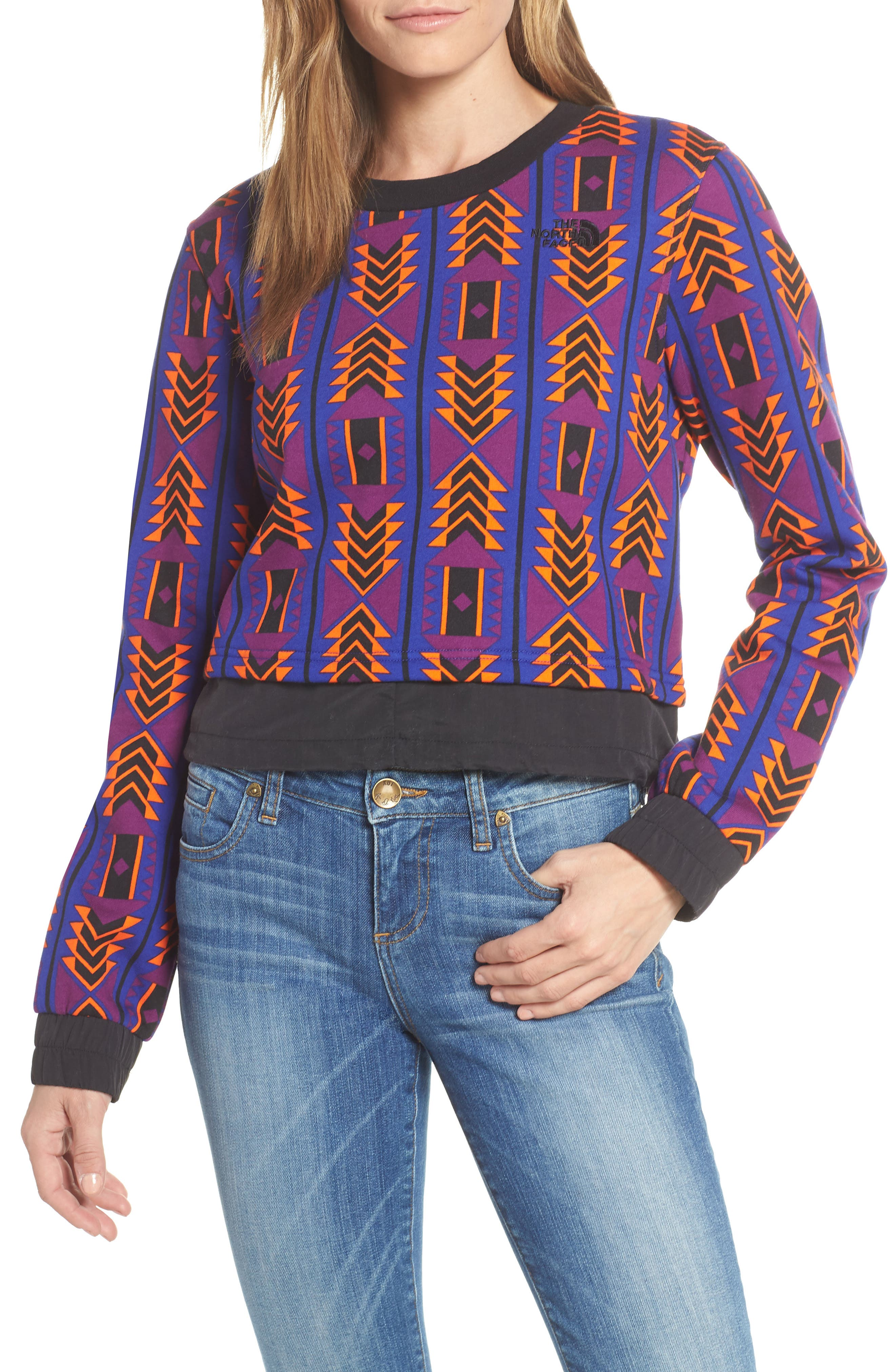 92 Rage Crop Fleece Sweatshirt,                             Main thumbnail 1, color,                             AZTEC BLUE 1992 RAGE PRINT