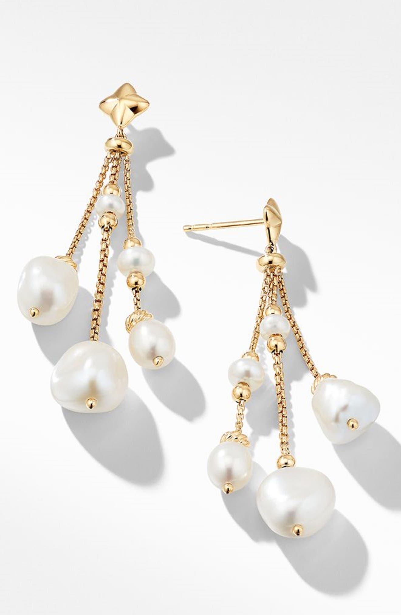 Bijoux Bead Link Drop Earrings in 18K Gold,                             Main thumbnail 1, color,                             PEARL