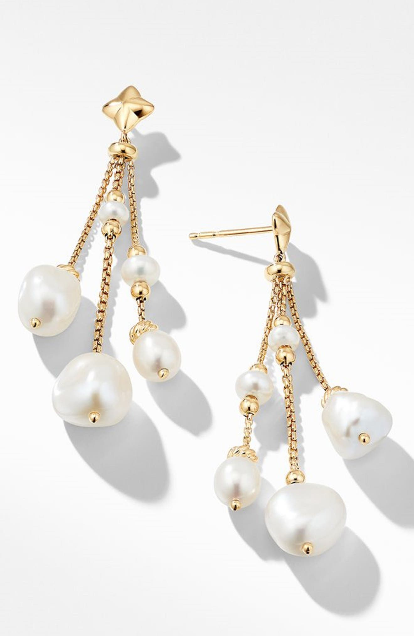 Bijoux Bead Link Drop Earrings in 18K Gold, Main, color, PEARL
