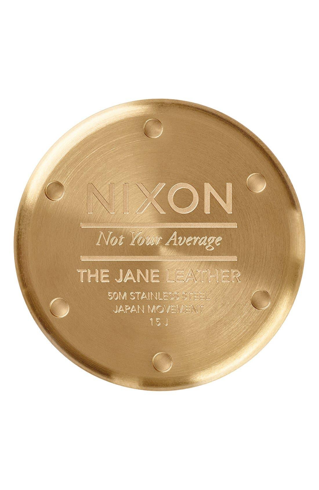 'Jane' Leather Strap Watch, 35mm,                             Alternate thumbnail 3, color,                             BLACK/ WHITE