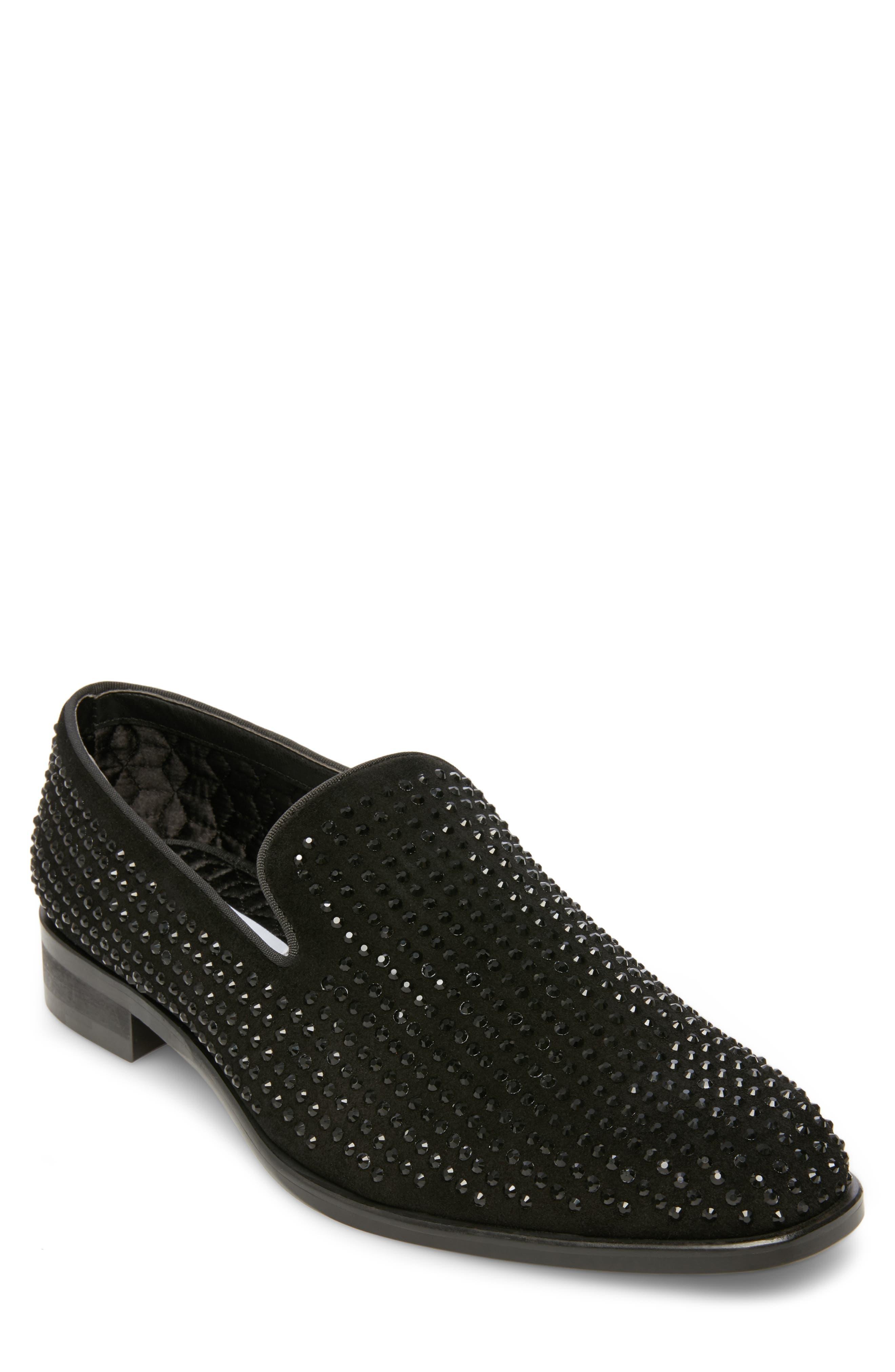 Falsetto Studded Venetian Loafer,                             Main thumbnail 1, color,                             BLACK