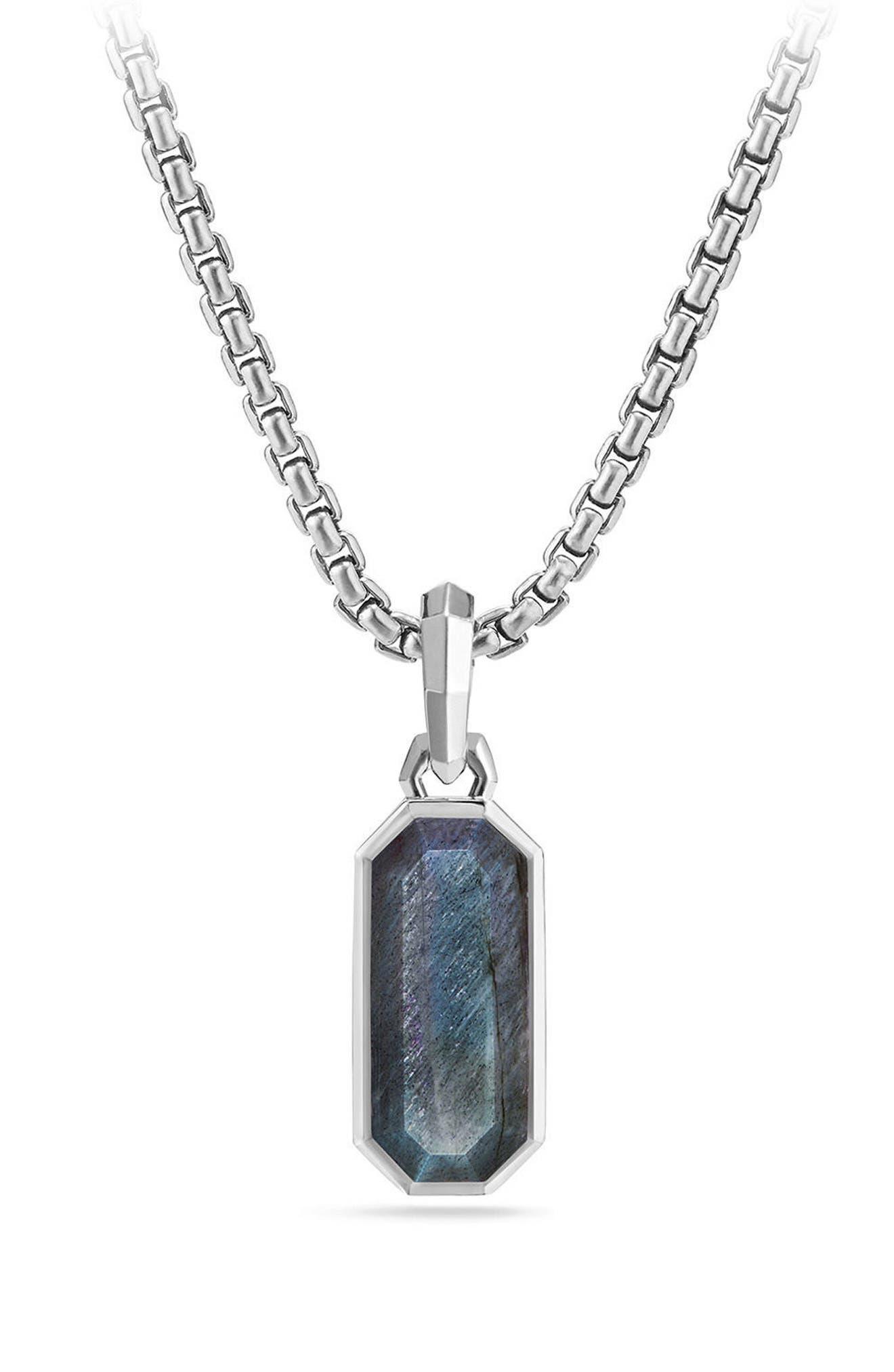 Emerald Cut Semiprecious Stone Amulet,                             Main thumbnail 1, color,                             040