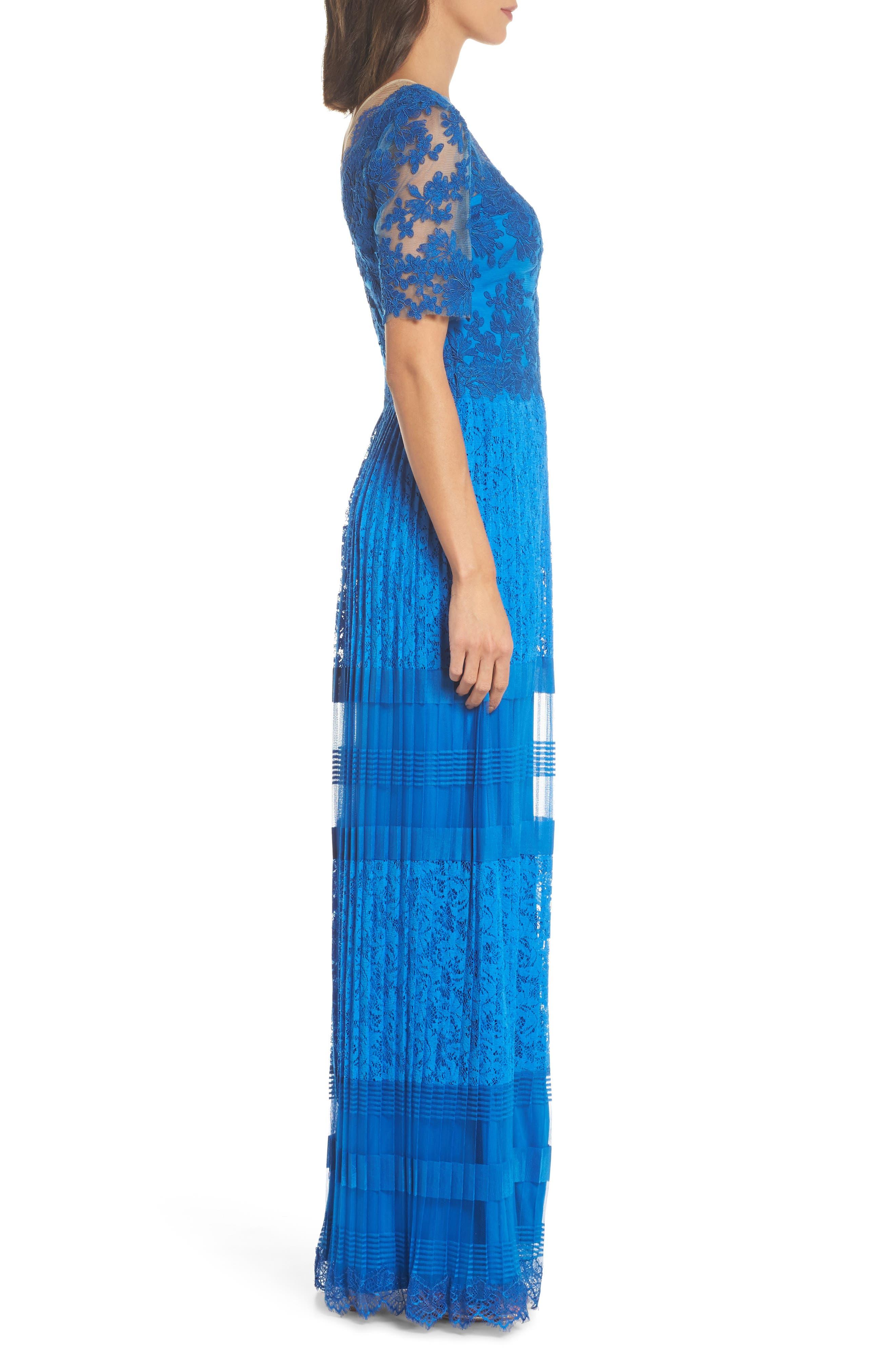 Pleat Lace Gown,                             Alternate thumbnail 3, color,                             430
