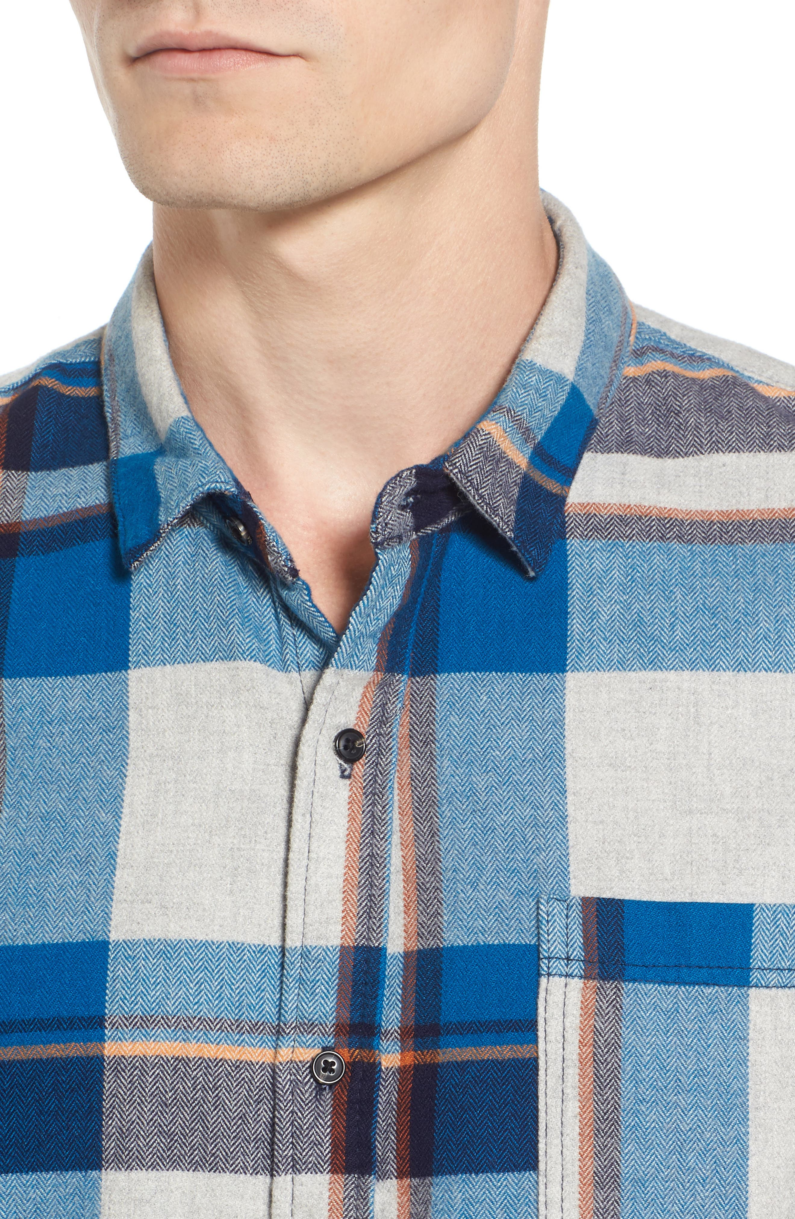 Brushed Flannel Plaid Shirt,                             Alternate thumbnail 4, color,                             111
