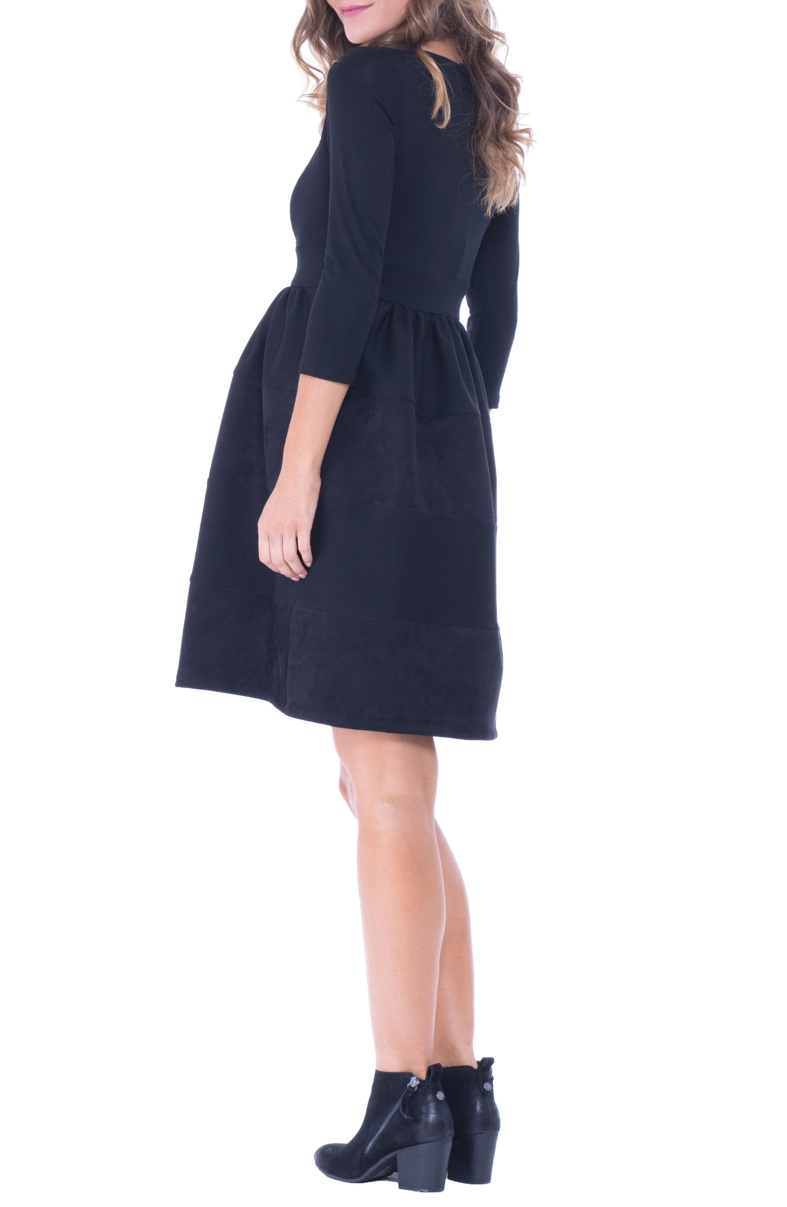 Faux Suede & Ponte Surplice Maternity Dress,                             Alternate thumbnail 2, color,                             BLACK