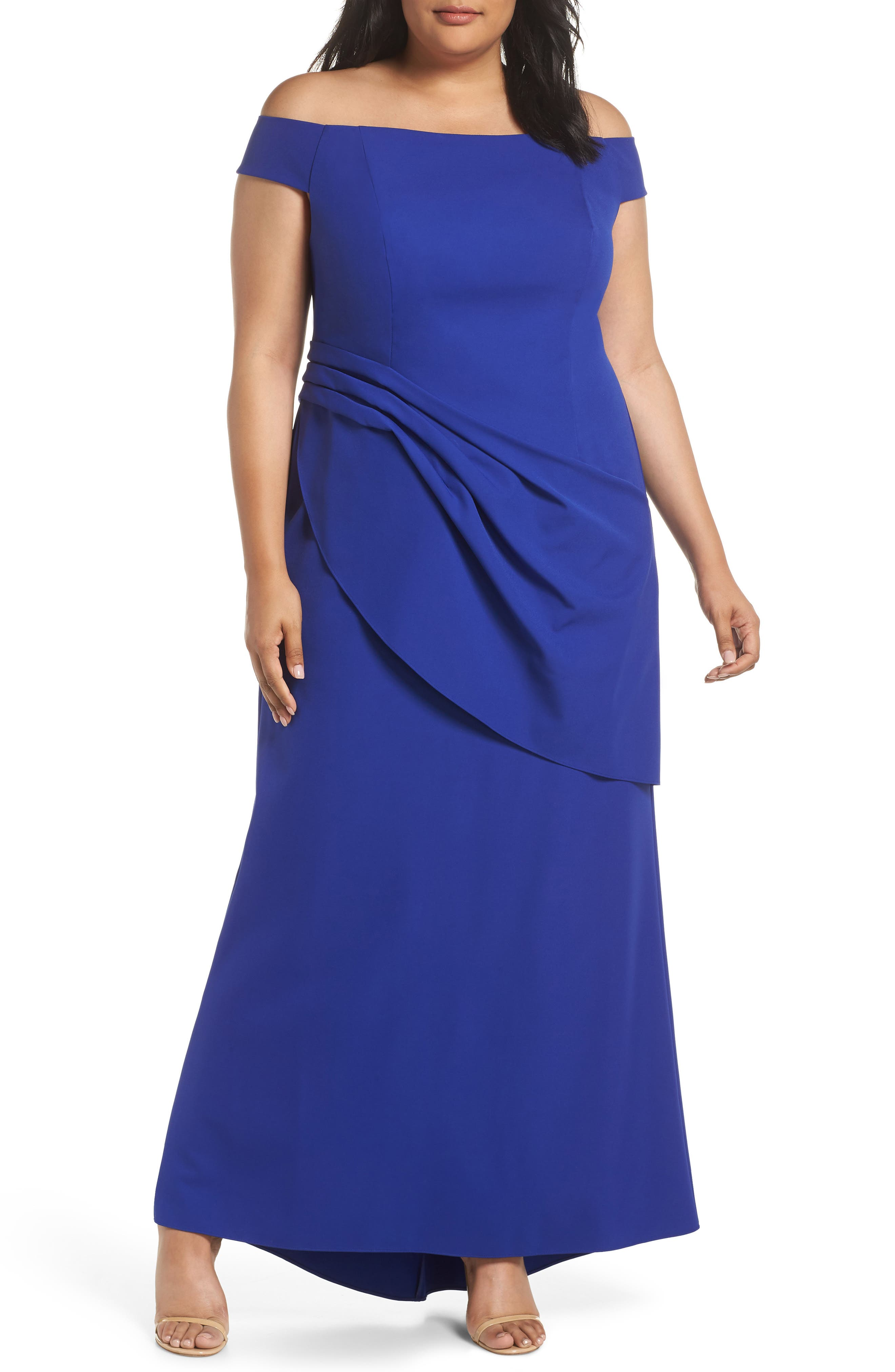 Draped Off the Shoulder Gown,                         Main,                         color, COBALT