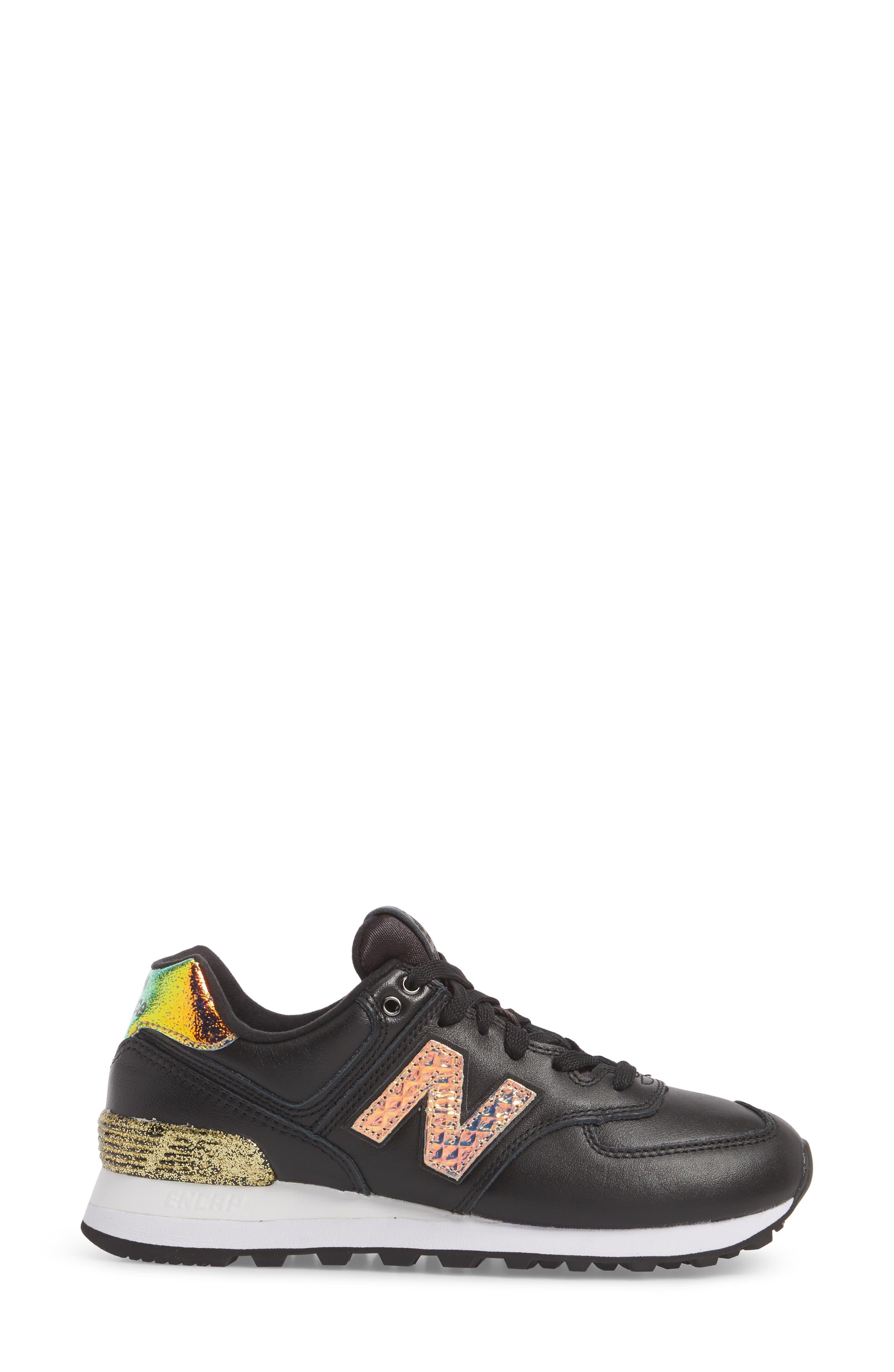 574 Glitter Punk Sneaker,                             Alternate thumbnail 3, color,                             001