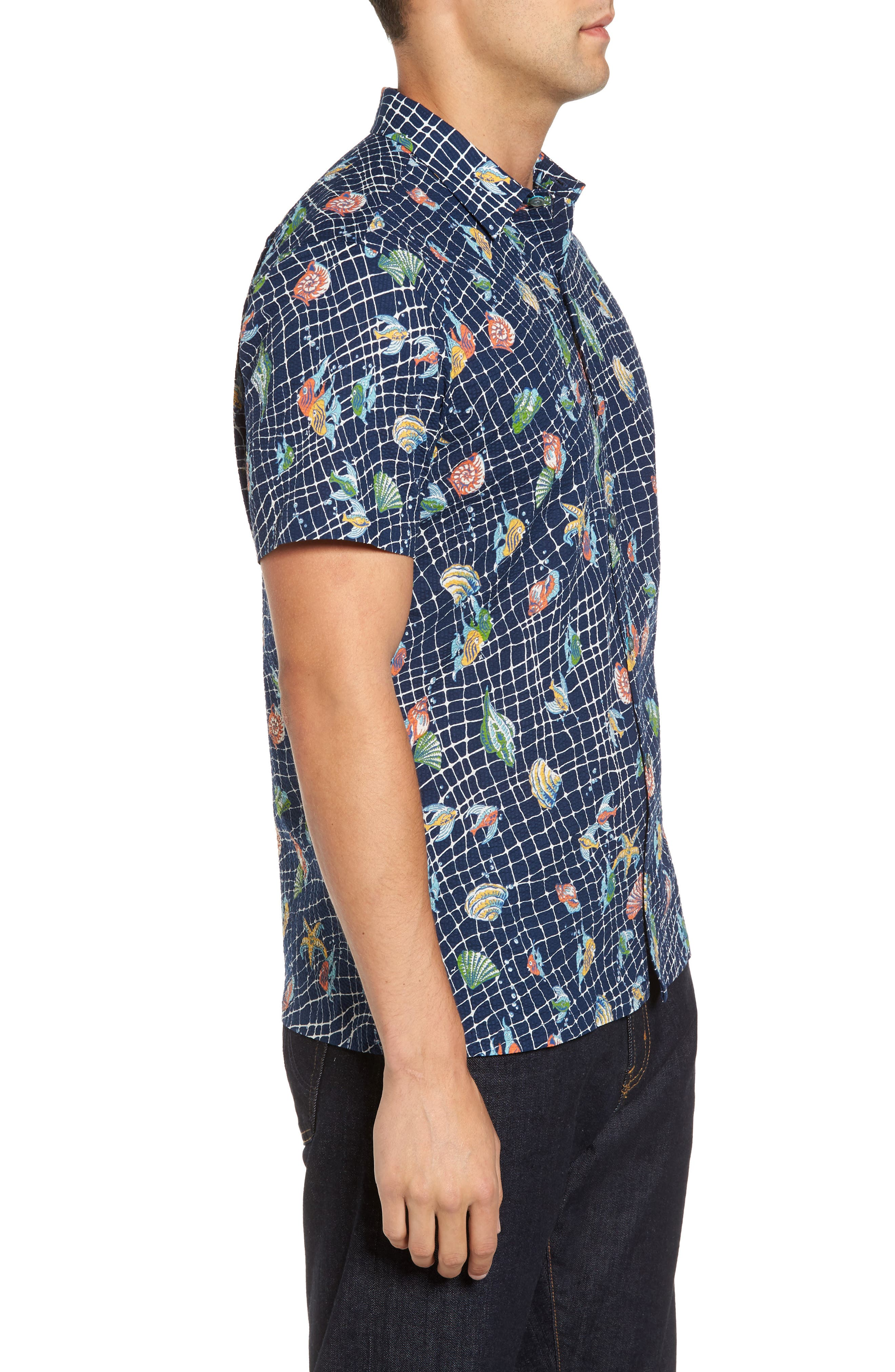 Catch All Print Sport Shirt,                             Alternate thumbnail 3, color,