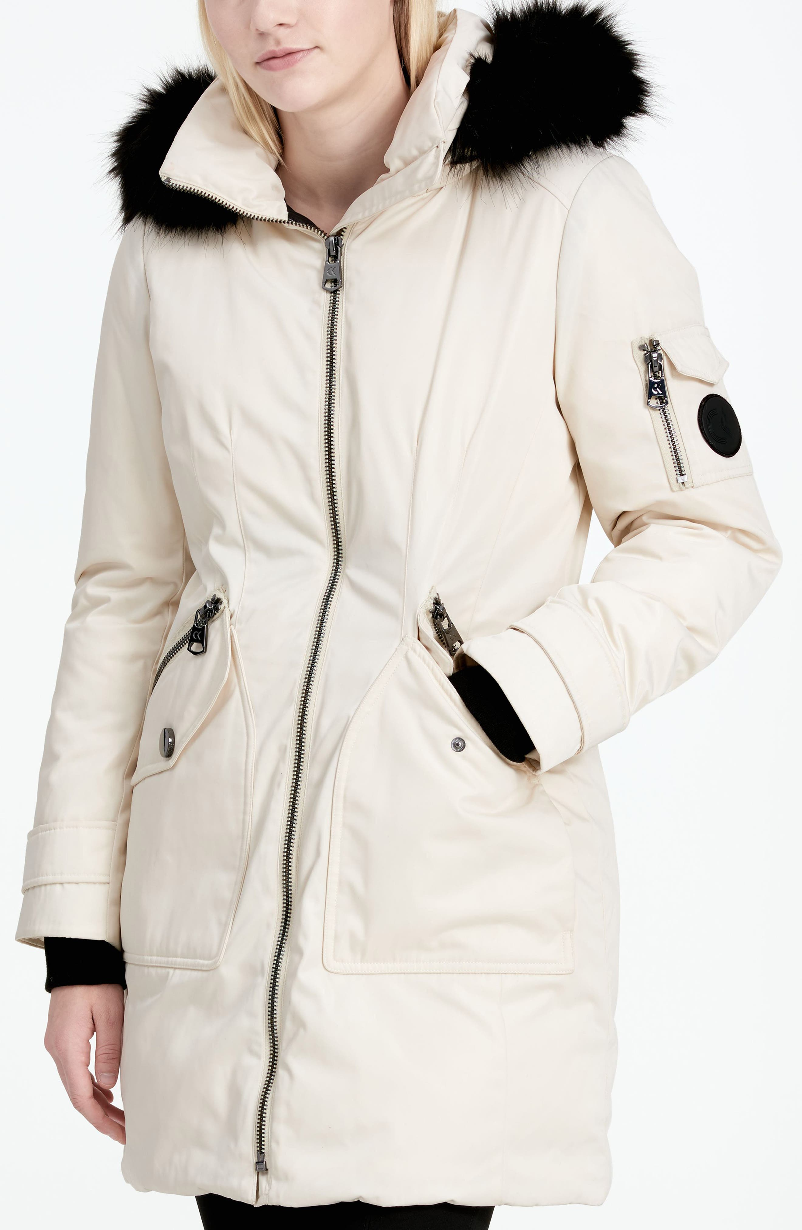 Calvien Klein Hooded Down Parka with Removable Faux Fur Collar,                             Alternate thumbnail 8, color,