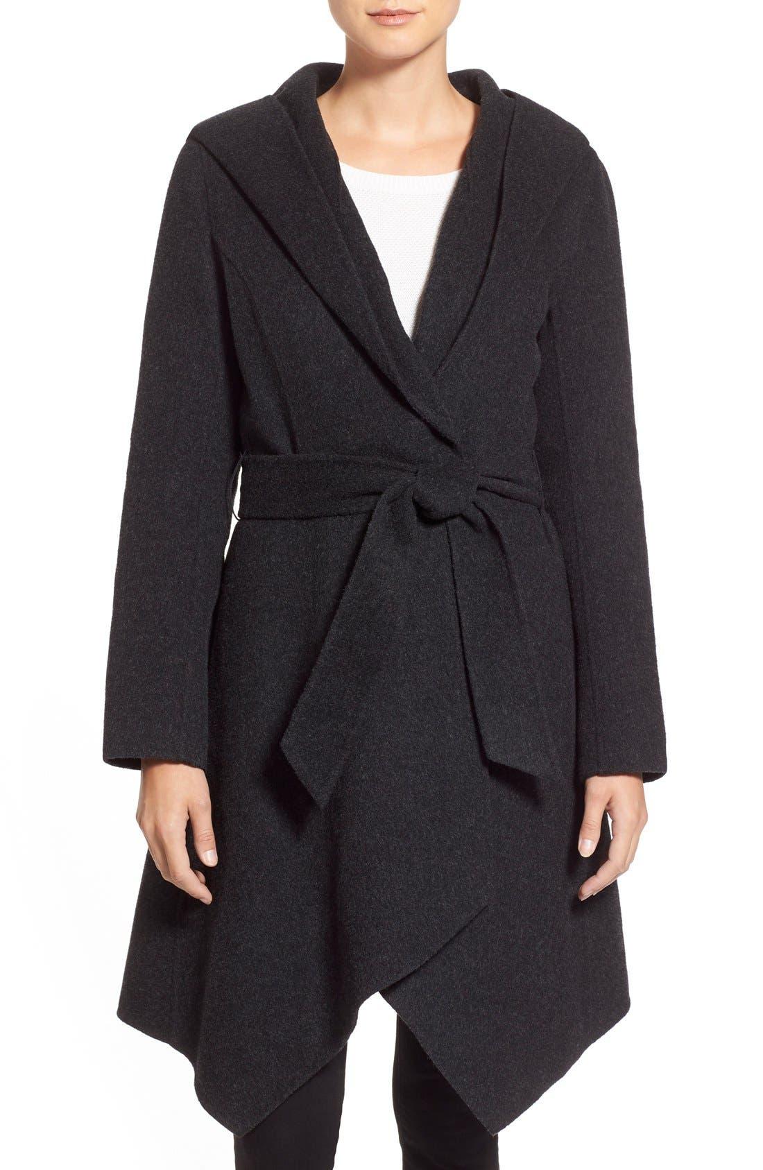 'Sophia' Belted Wool Blend Hooded Asymmetrical Coat, Main, color, 034
