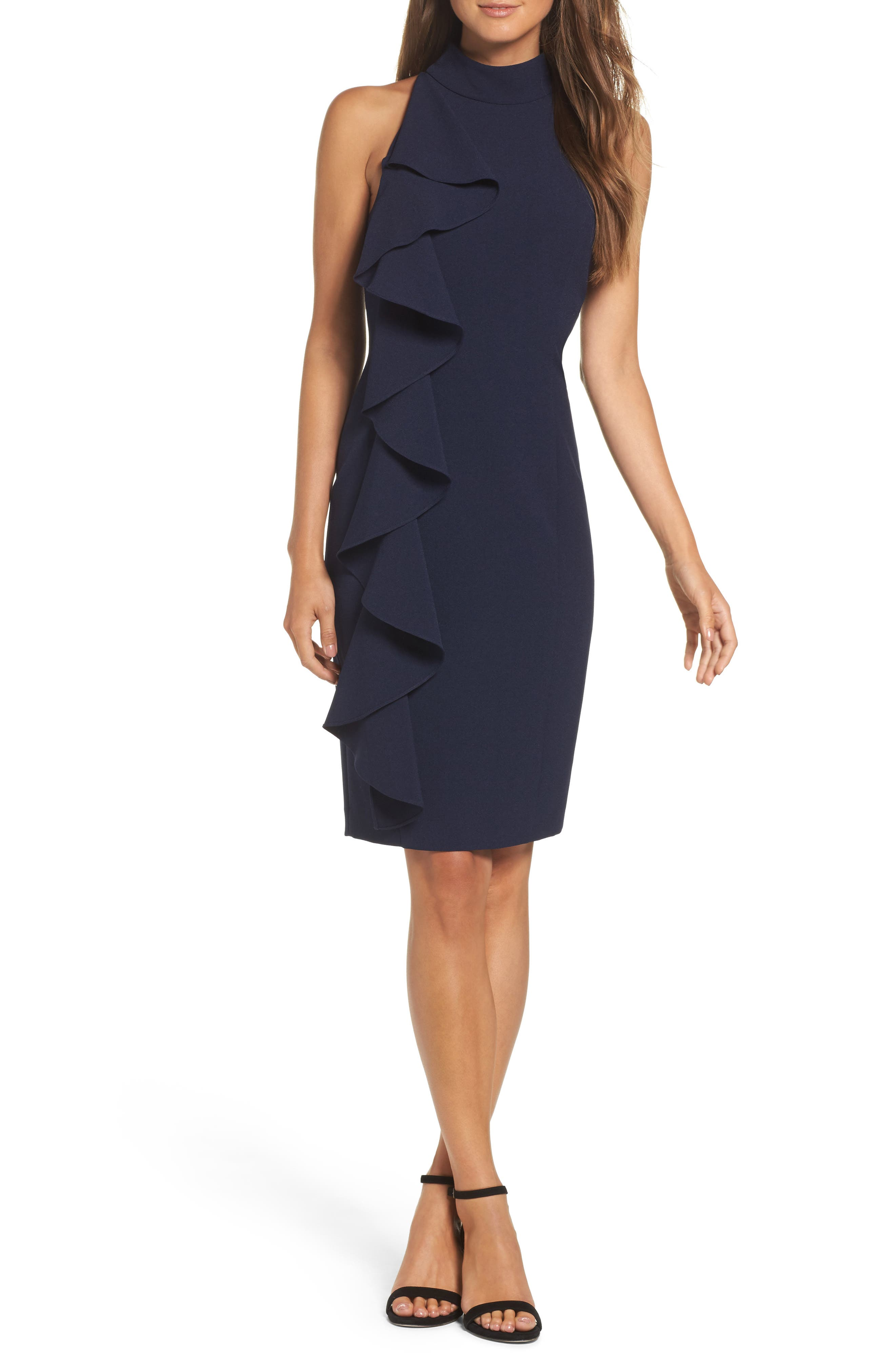 Ruffle Sheath Dress,                             Main thumbnail 1, color,                             NAVY