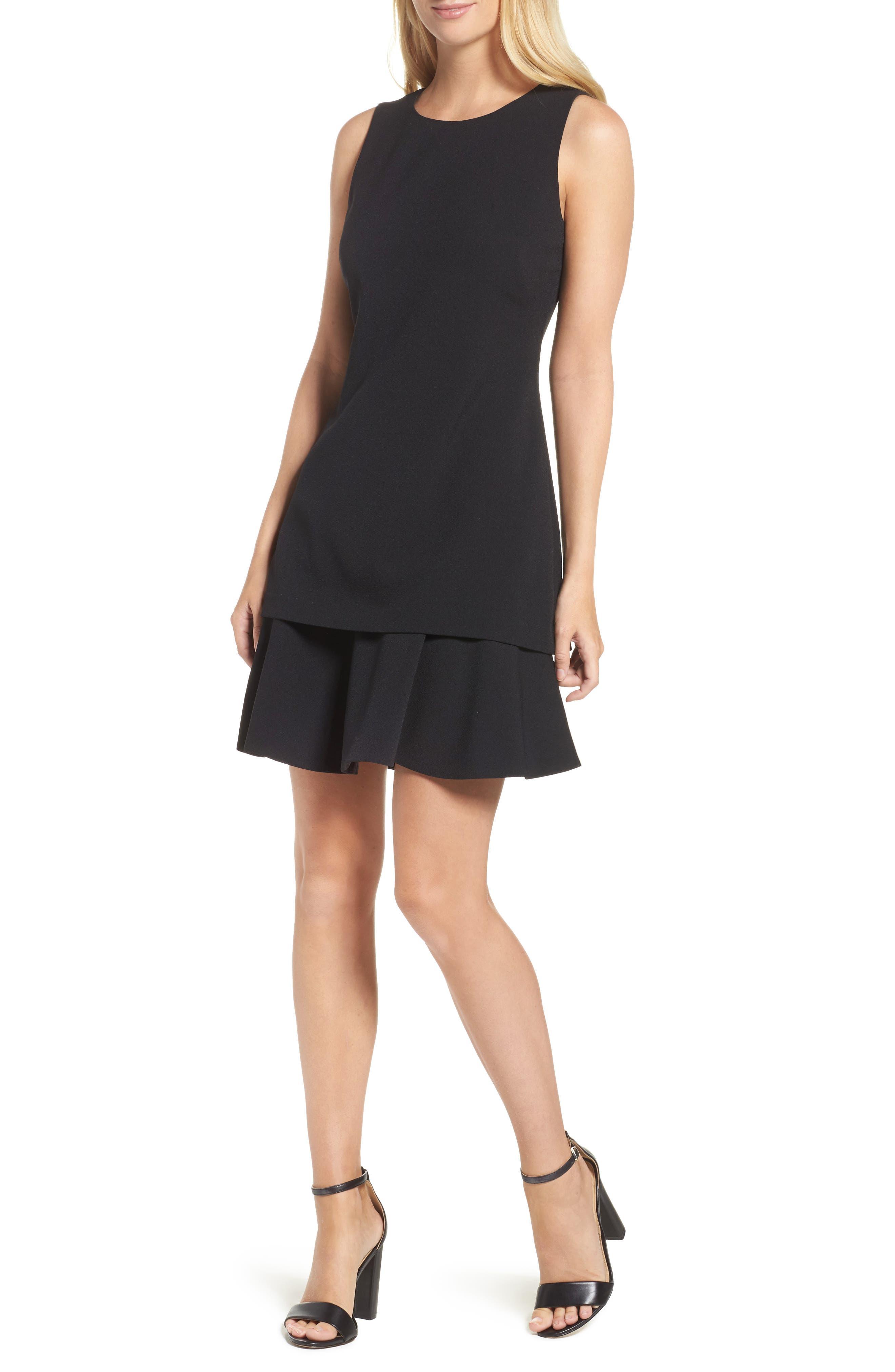 Crepe Fit & Flare Dress,                         Main,                         color, 001
