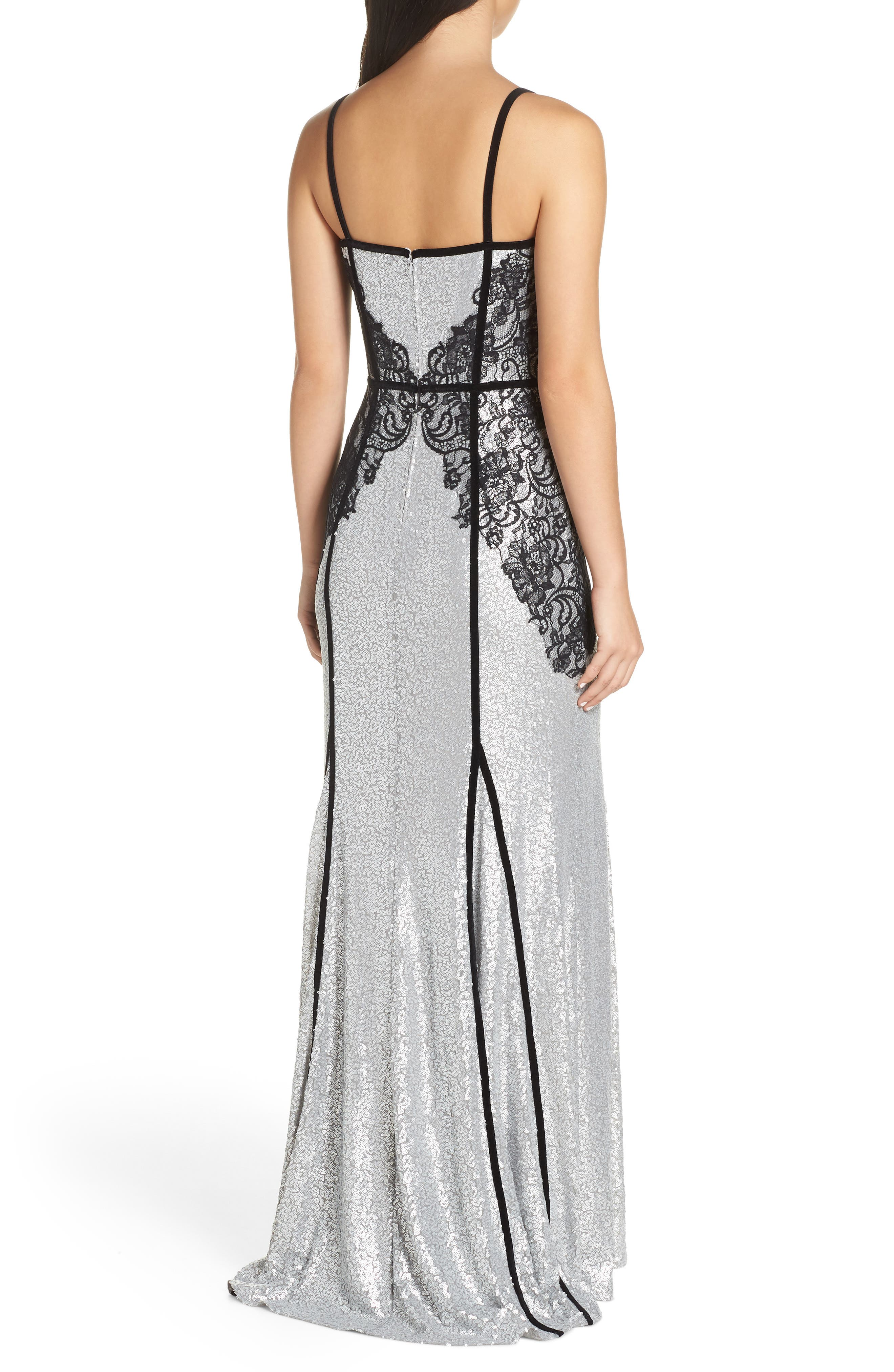Sleeveless Sequin & Lace Gown,                             Alternate thumbnail 2, color,                             SILVER/ BLACK